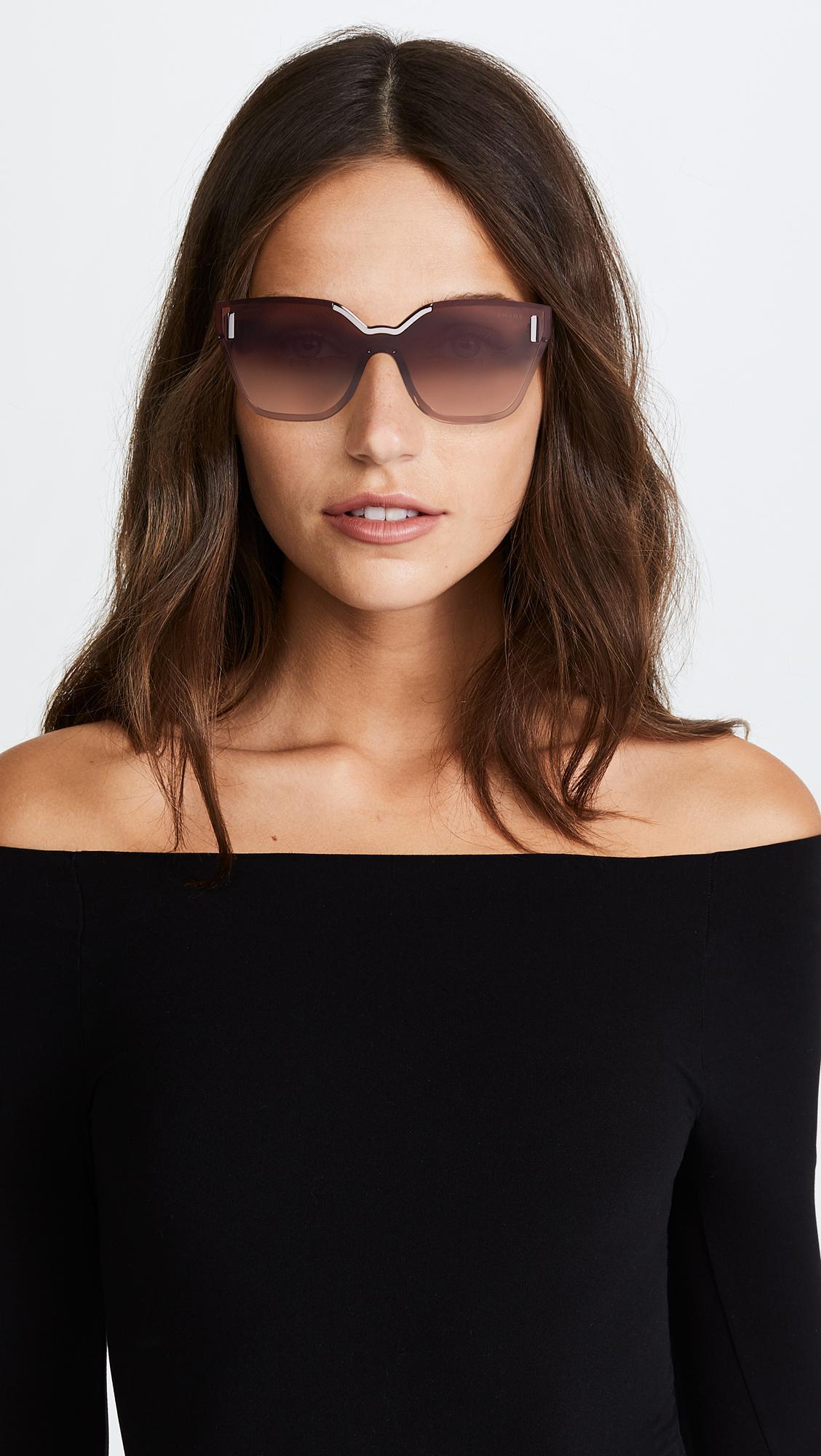 f9d88f7c19c ... wholesale prada hide catwalk sunglasses in brown lyst abd14 5ca8c