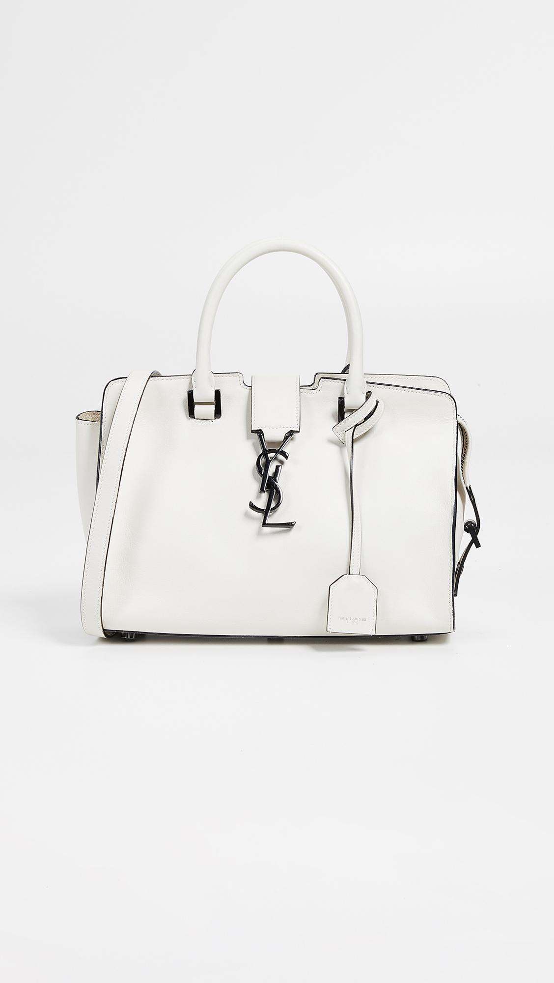 What Goes Around Comes Around. Women s Ysl White Leather Baby Cabas Bag b5d743cfdde9b