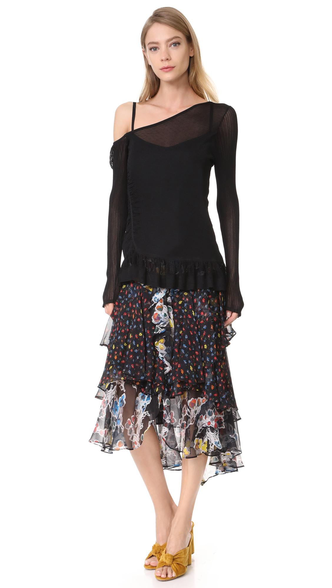 Jason WuWomen's Black Asymmetrical Ruffle Top