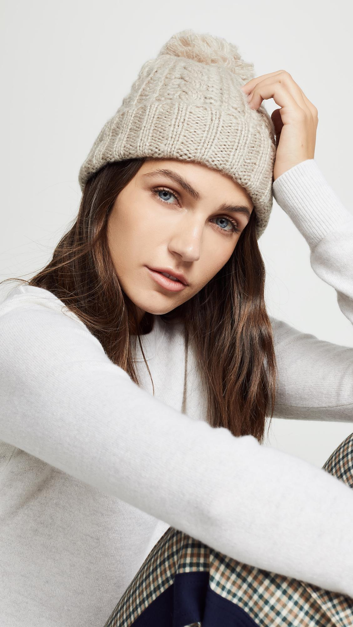 988c558e535 Lyst - Hat Attack Soft Cable Beanie Hat in Brown