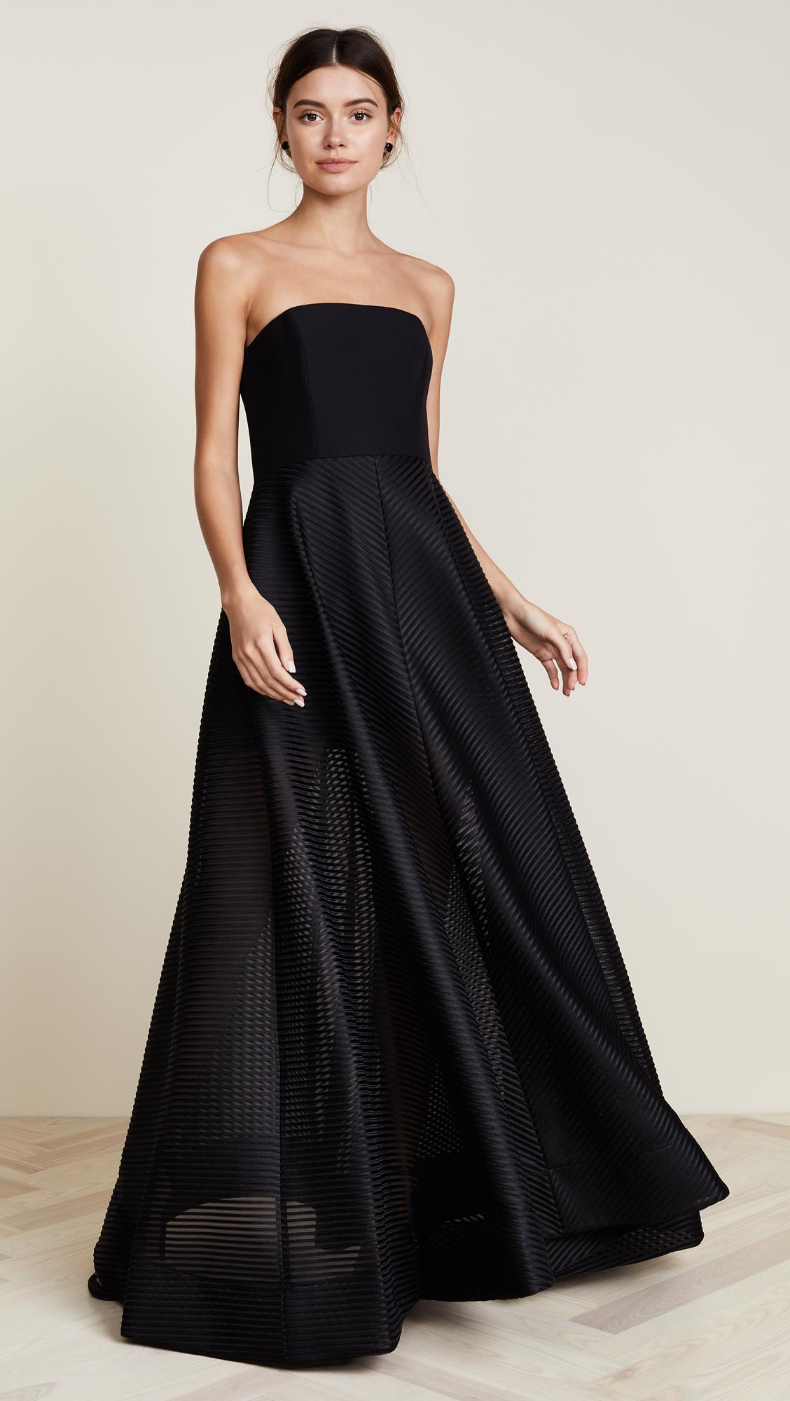 Halston Strapless Gown With Sheer Striped Skirt in Black ...
