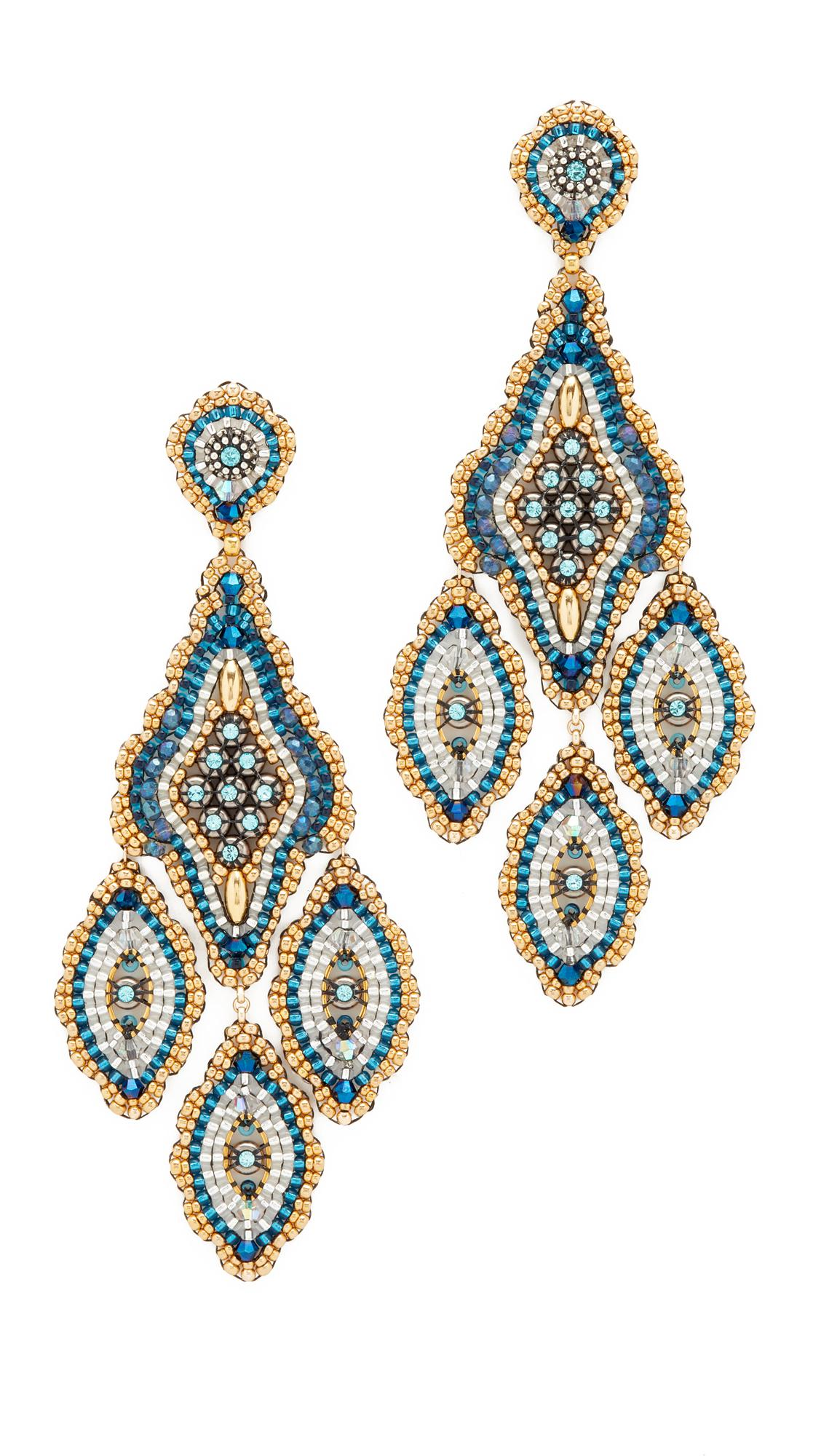 Miguel ases Beaded Chandelier Earring in Blue