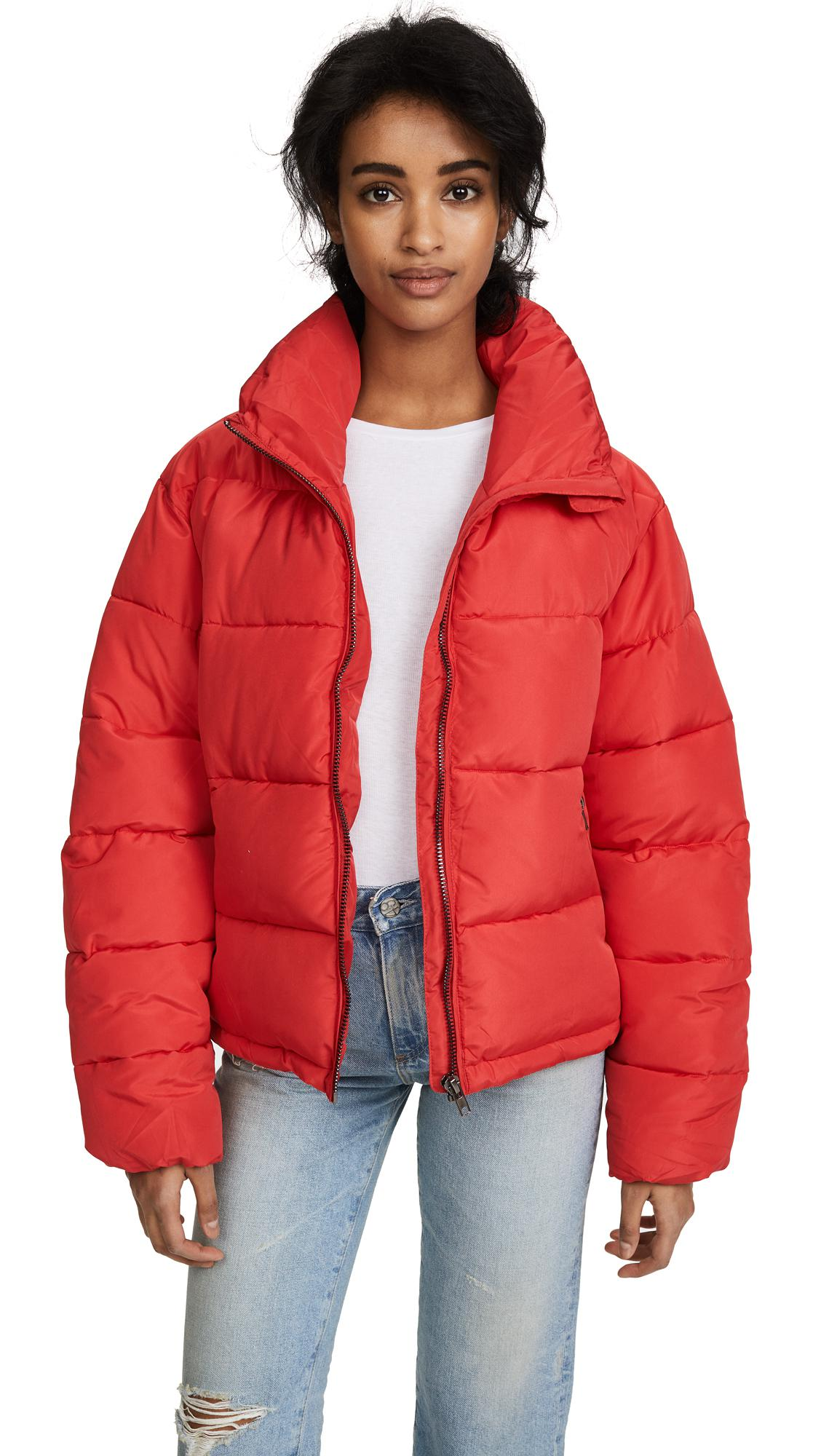 d302b6c0ad68 Lyst - Glamorous Cropped Puffer Coat in Red