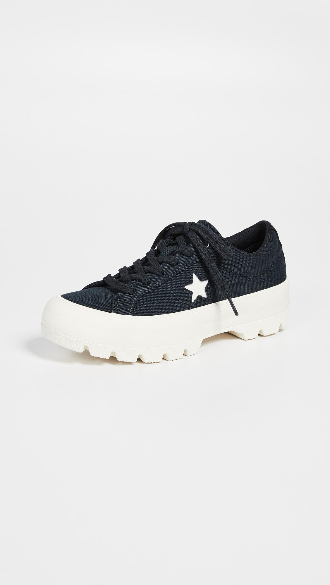 914769f4757f Converse One Star Lugged Ox Sneakers in Black - Lyst