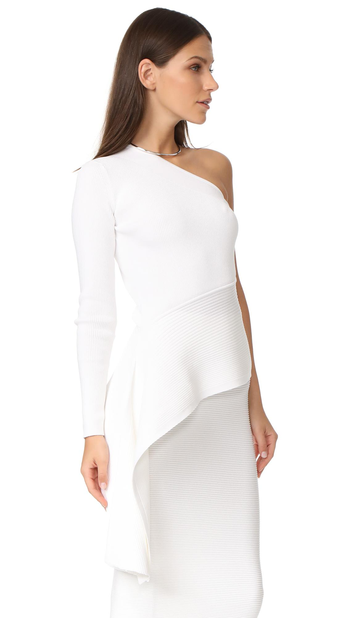e62a25cf308 Cushnie et Ochs Ls One Shoulder Top in White - Lyst