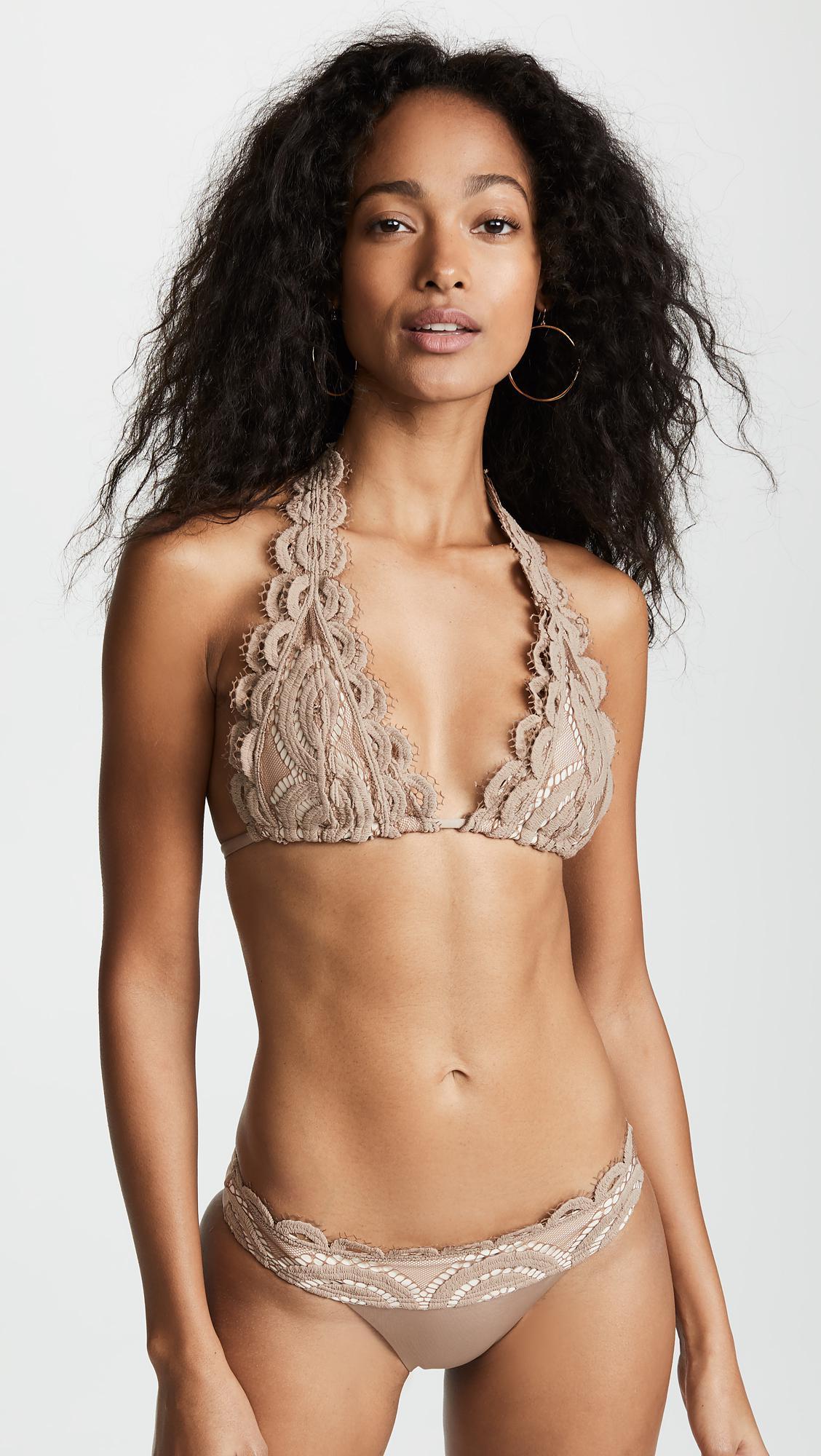 b5a72cee4c53e Pilyq. Women s Sandstone Lace Halter Bikini Top