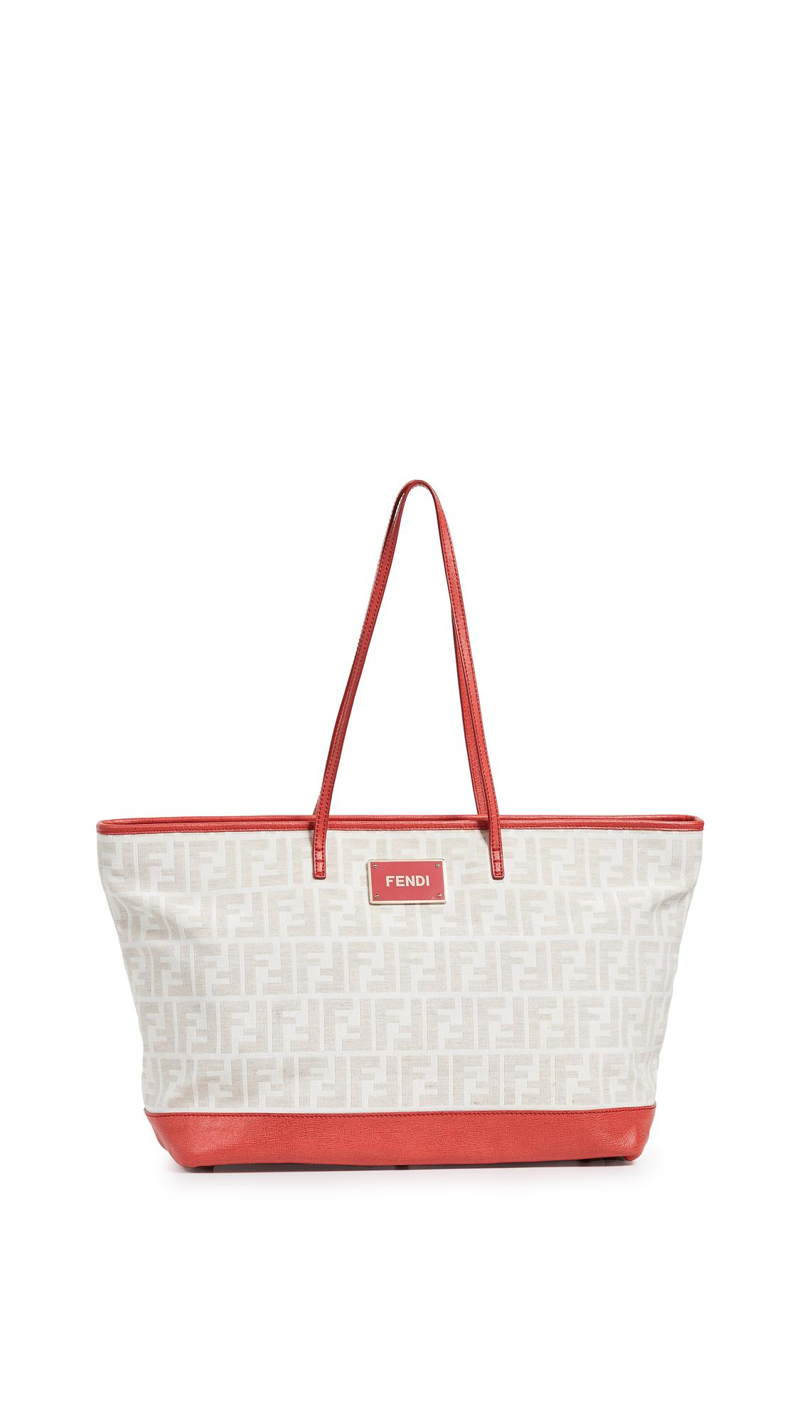 689204915cf9 What Goes Around Comes Around - Fendi Red Zucca Roll Tote - Lyst. View  fullscreen