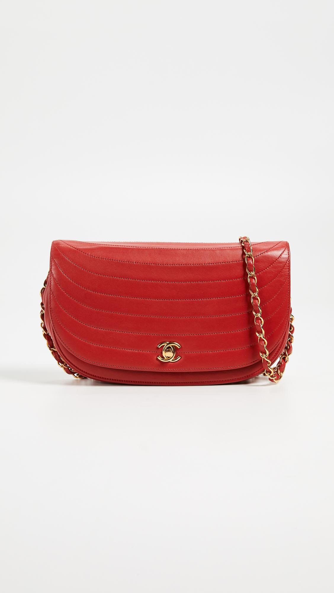 e031ceae986 What Goes Around Comes Around Chanel Lambskin Shoulder Bag in Red - Lyst