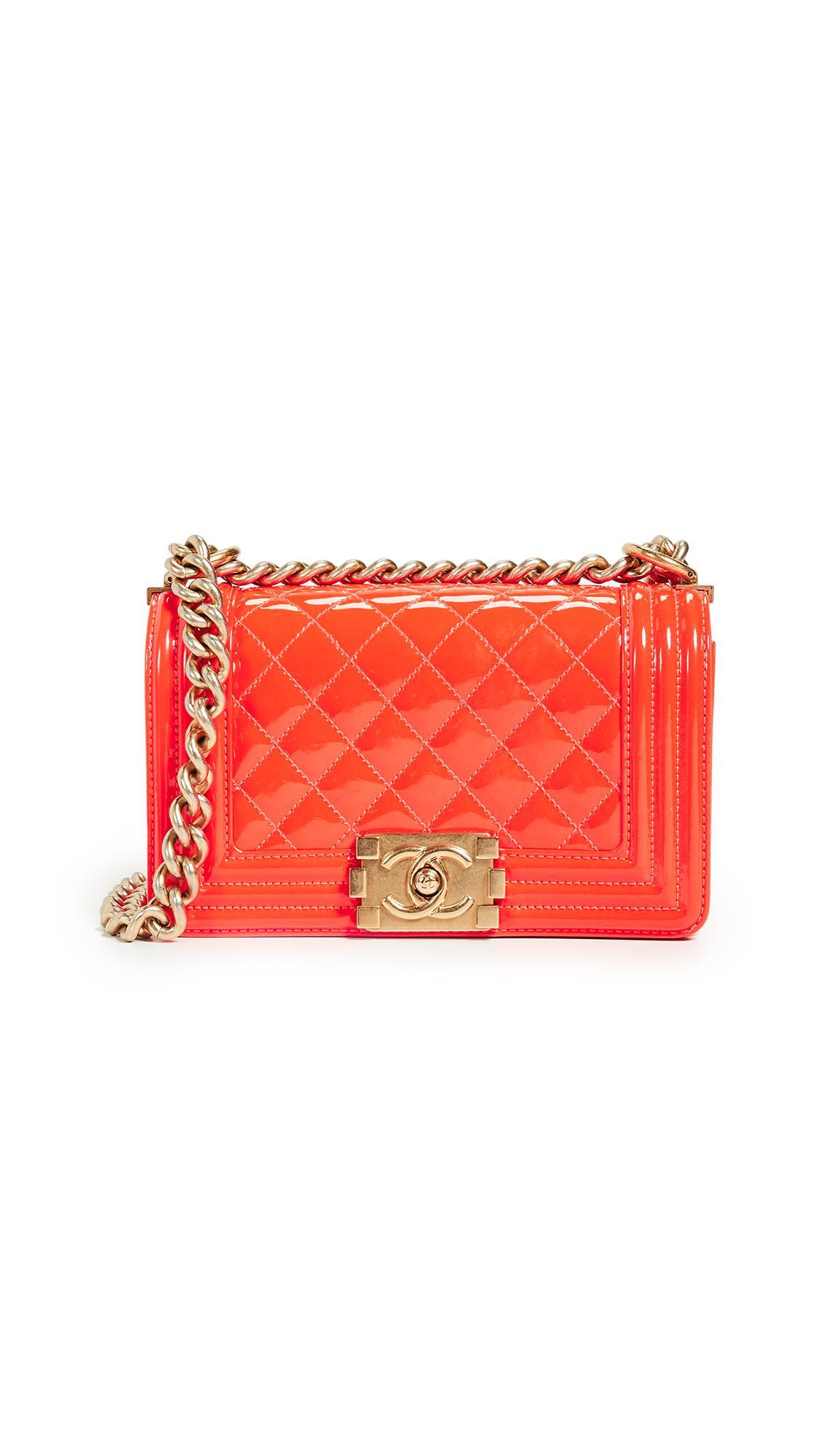 20012e229946 What Goes Around Comes Around Chanel Patent Boy Small Bag in Orange ...