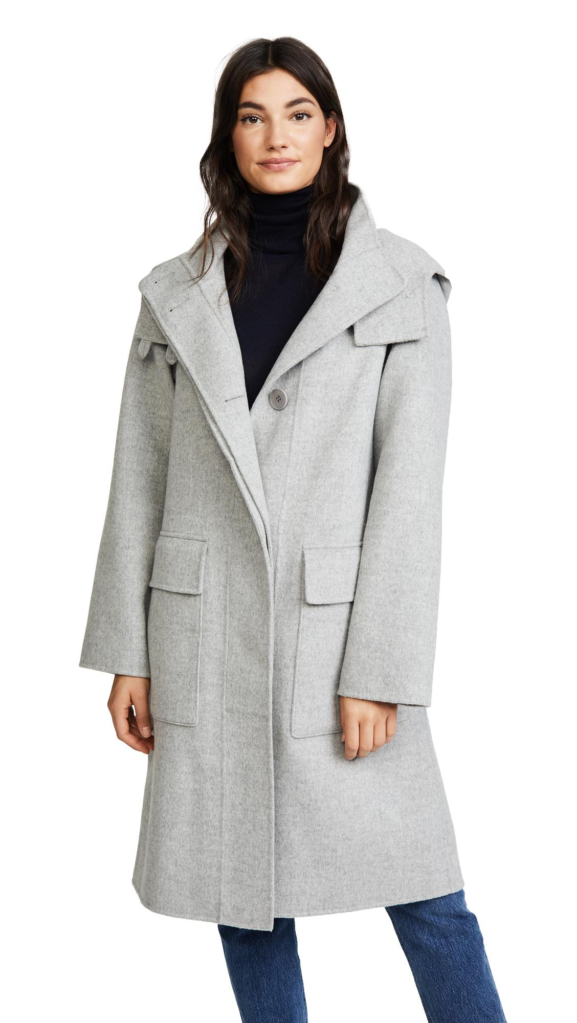 e3181328a918 Theory Duffle Coat Df in Gray - Lyst