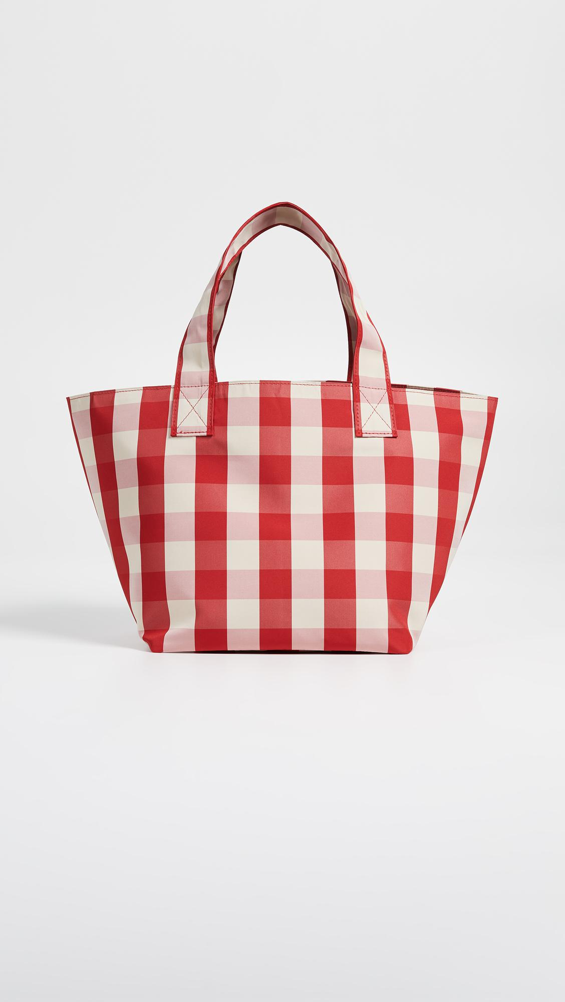 blue and white gingham grocery small tote bag Trademark VoSqGZ