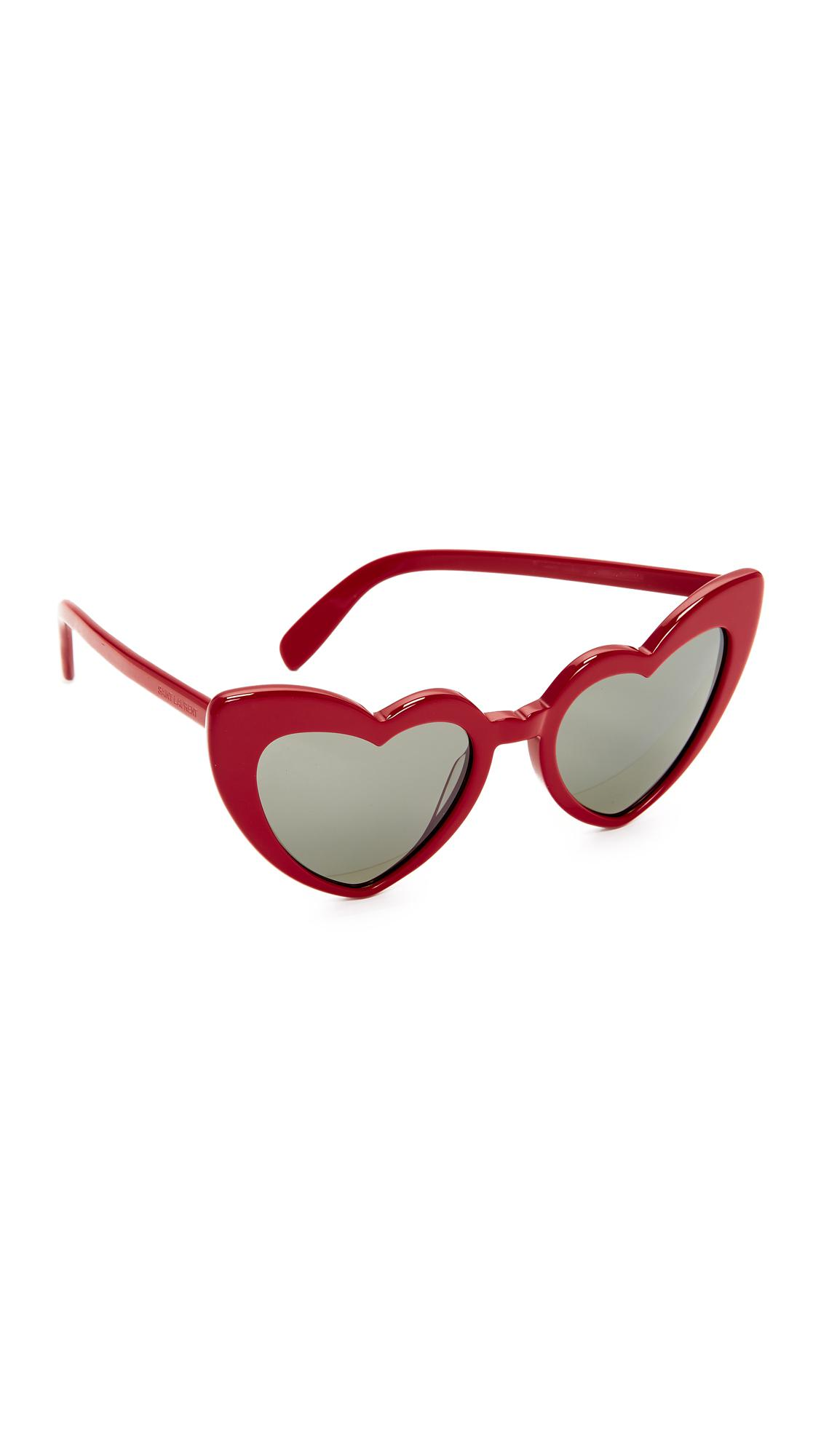 8749ae18f12 Lyst - Saint Laurent Sl 181 Lou Lou Hearts Sunglasses in Red