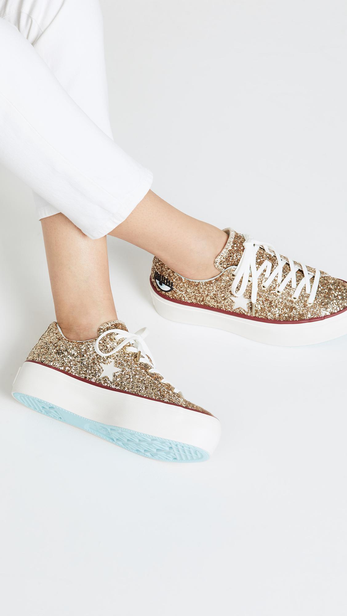 Converse Metallic One Star X Chiara Ferragni Lace Up Sneakers