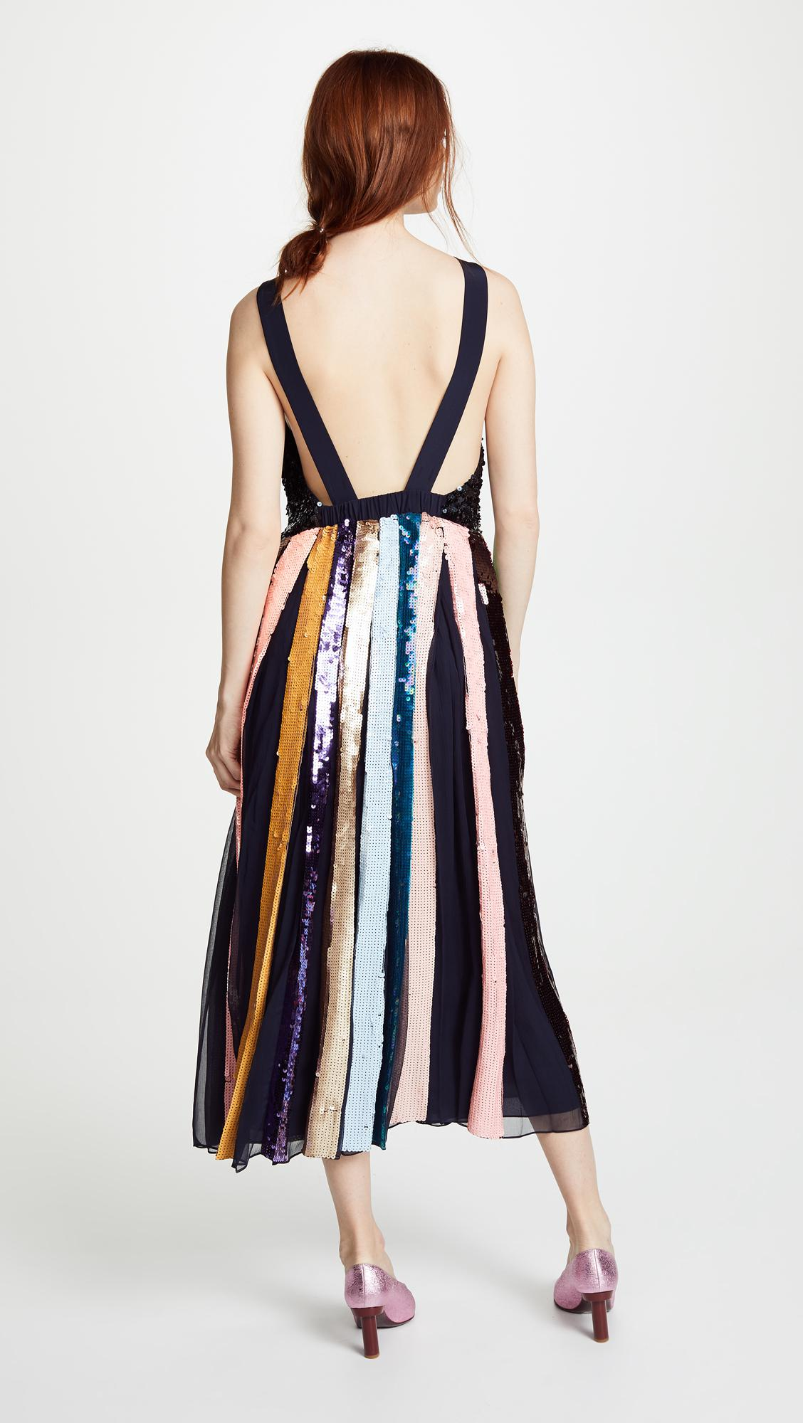 d26094017e8 Lyst - Tibi Beaded Sequin Overall Dress in Blue