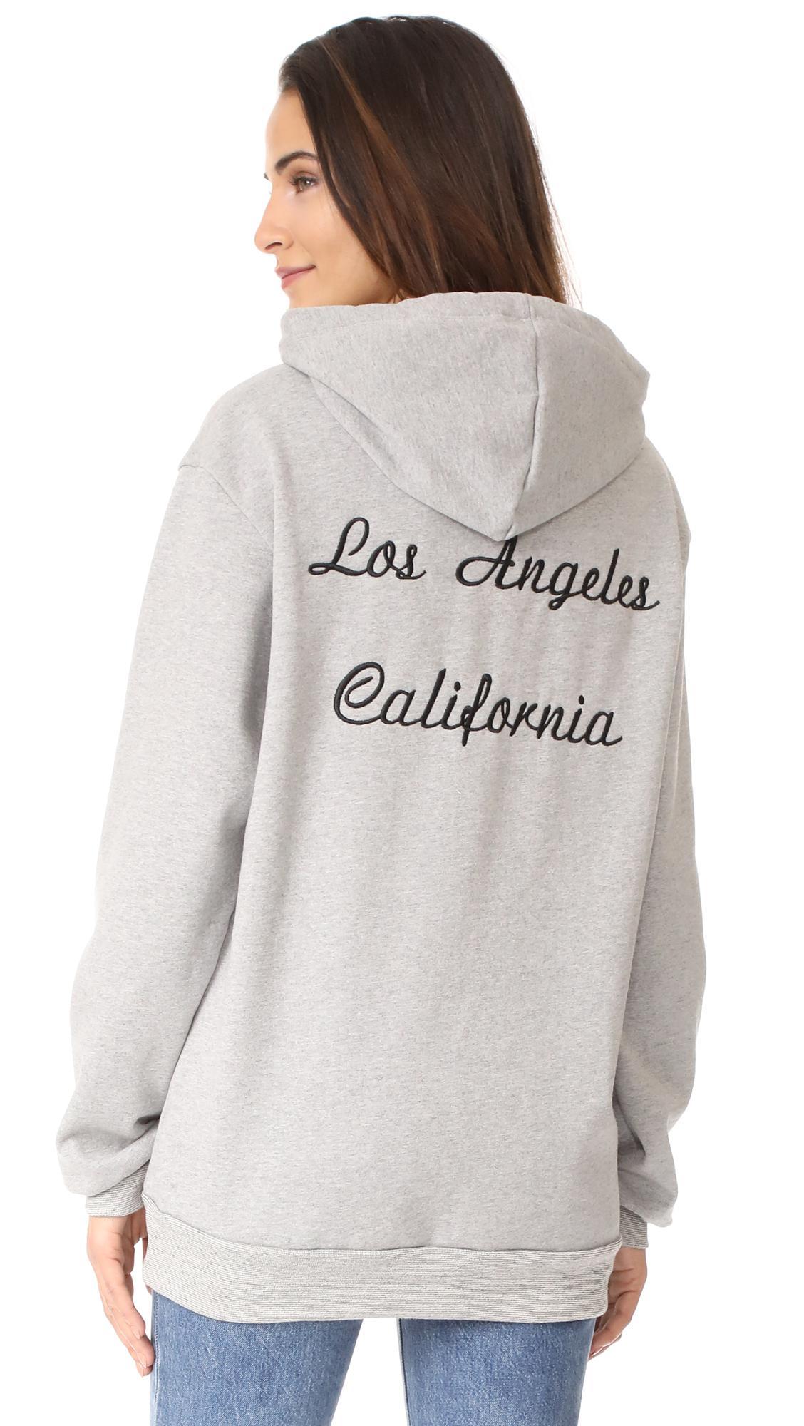 Lyst rodarte los angeles oversized embroidery hoodie in gray