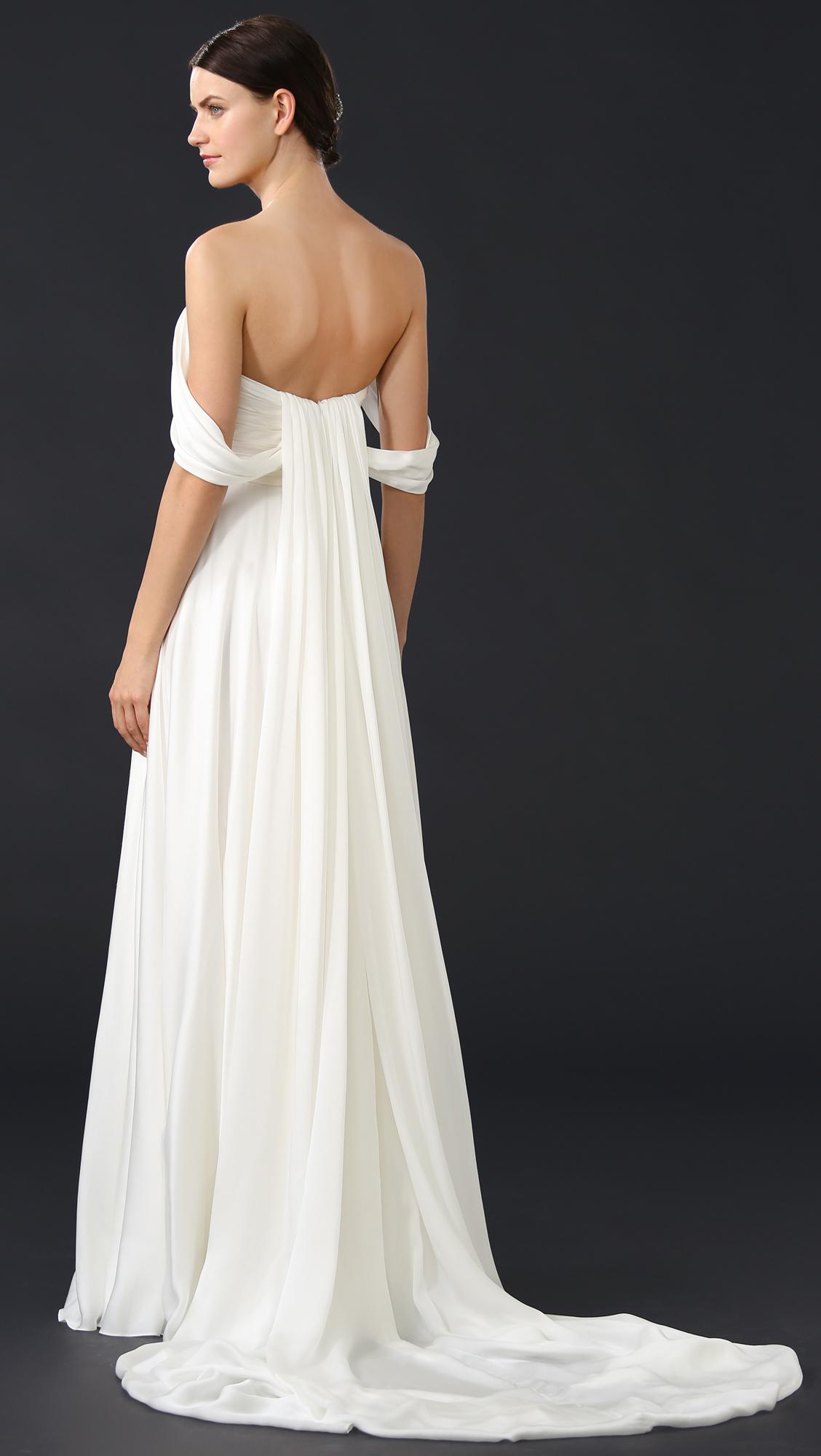 Lyst - Theia Delphine Off Shoulder Gown in White