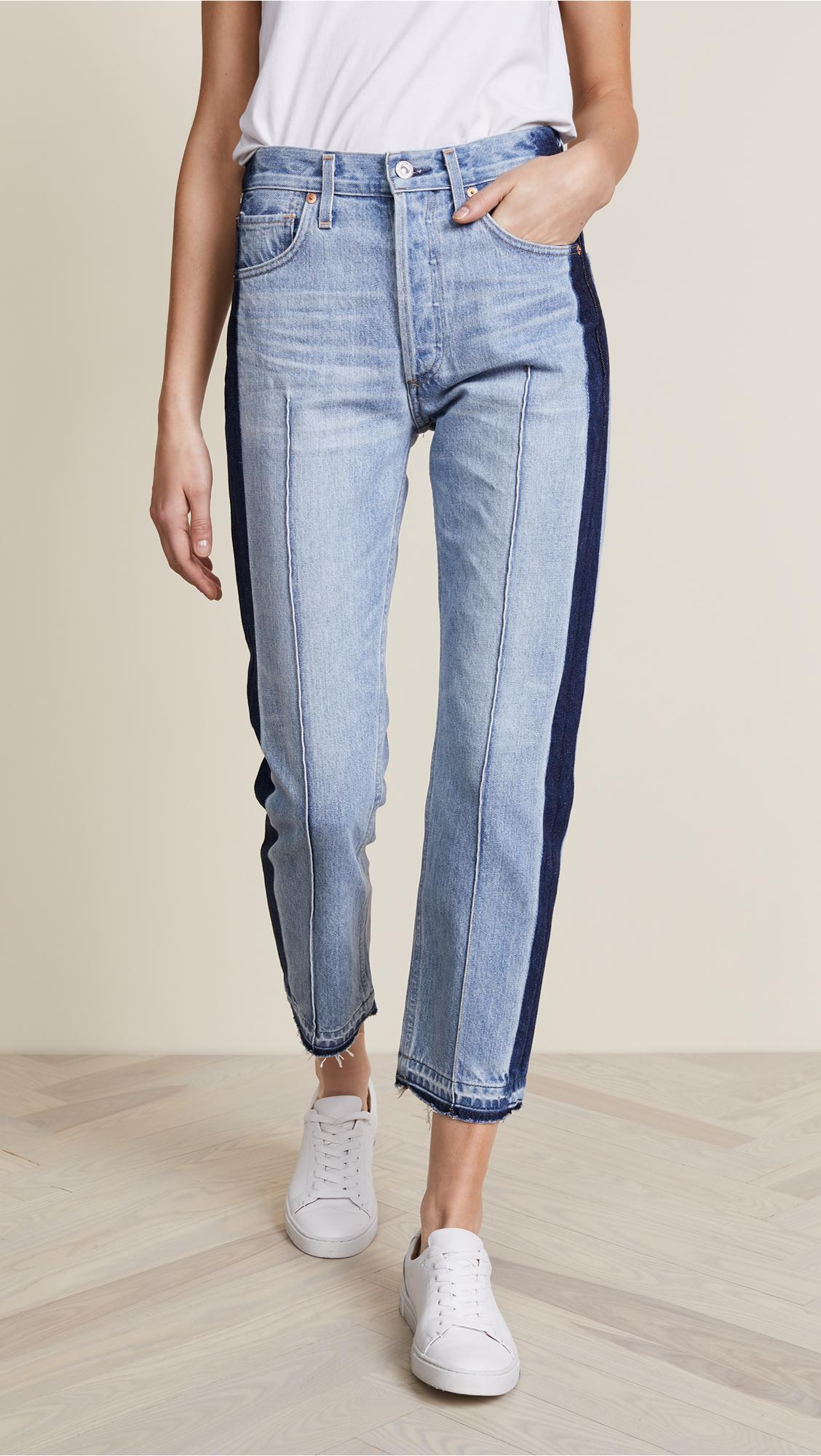 lyst citizens of humanity gia crop jeans in blue. Black Bedroom Furniture Sets. Home Design Ideas