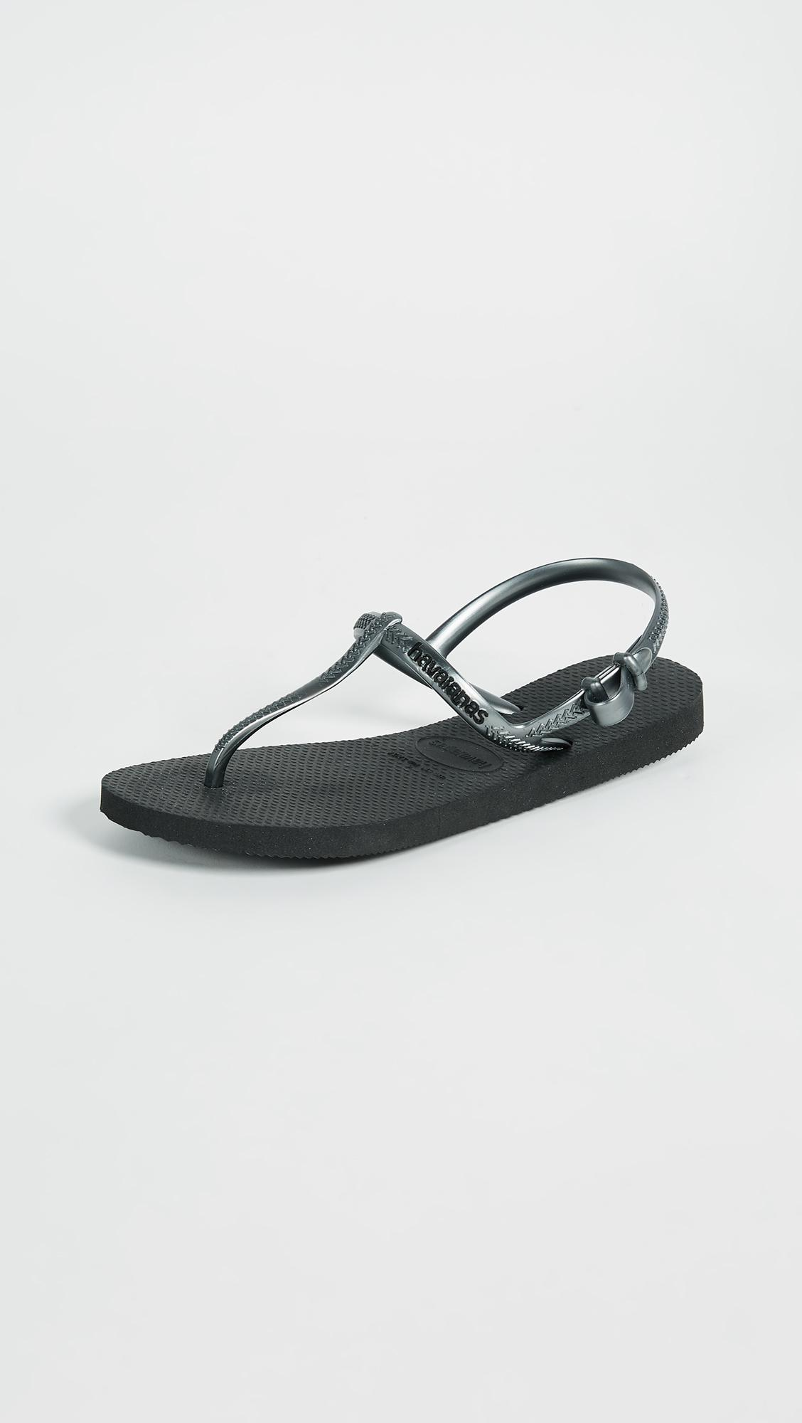 452876359775f8 Havaianas Freedom T Strap Sandals in Black - Lyst