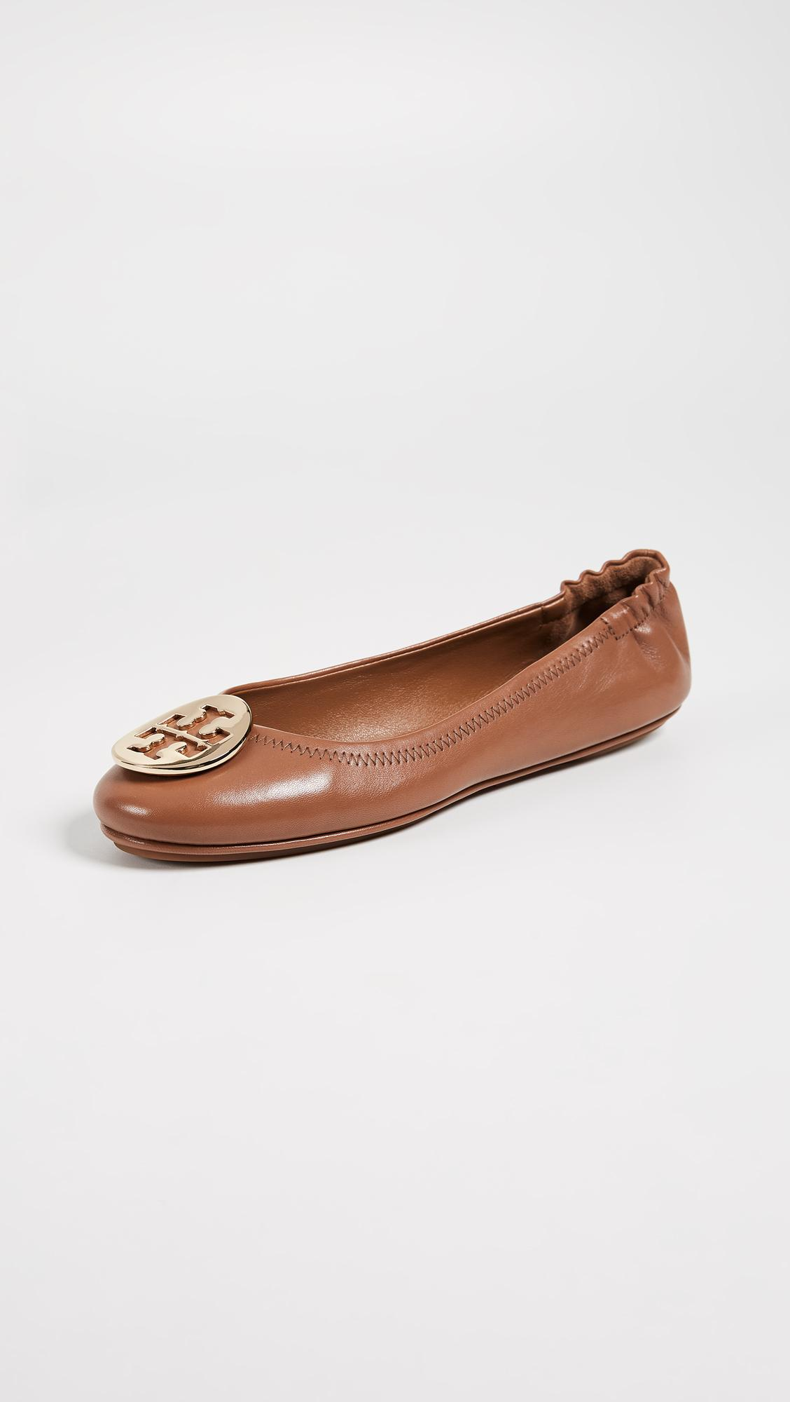 ef58f22e64fb44 Tory Burch Minnie Travel Ballet Flats in Brown - Save 6% - Lyst