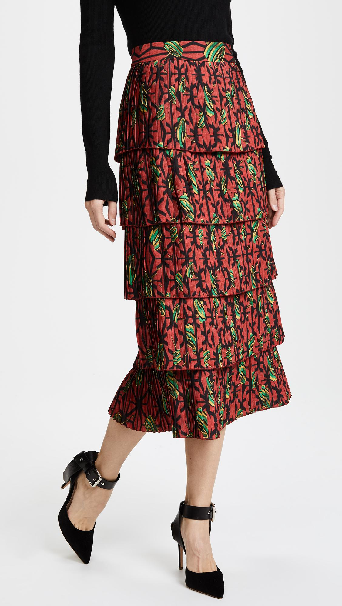 b513d62880 Lyst - Stella Jean Printed Pleated Tiered Skirt in Red