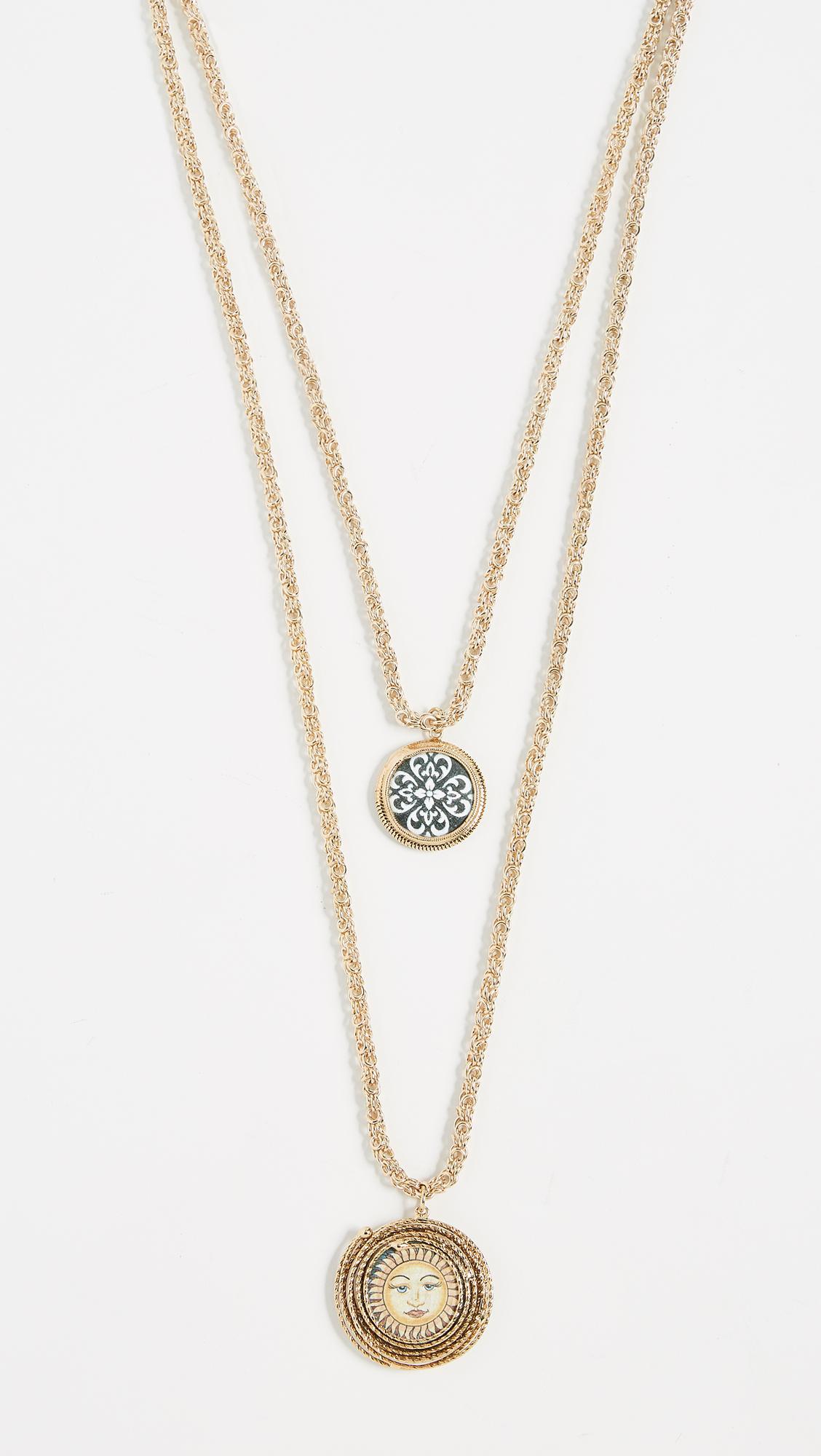 Rosantica Ciucciue double ceramic-tile necklace BKPrSIl