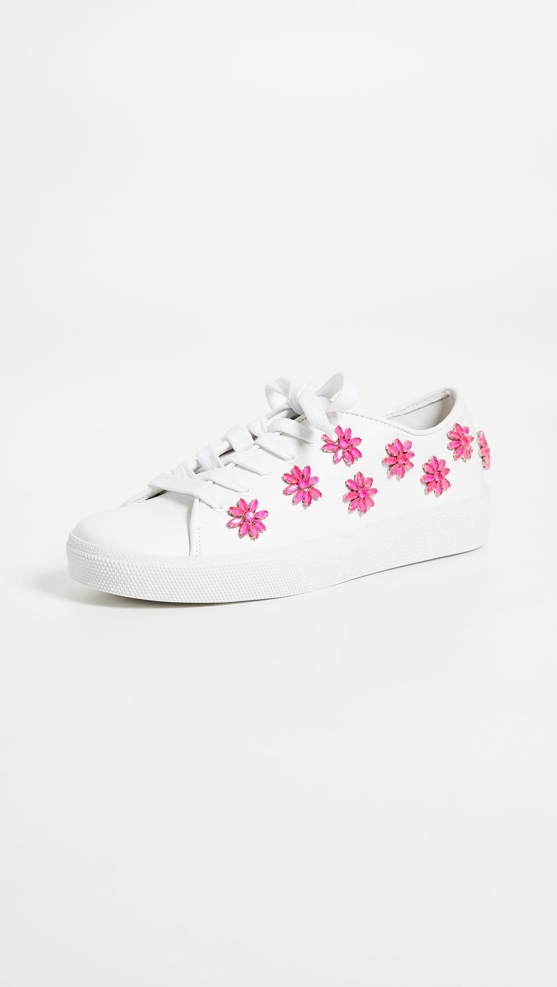 ALICE+OLIVIA Cleo Floral-Applique Leather Sneakers GyW1fgC1E