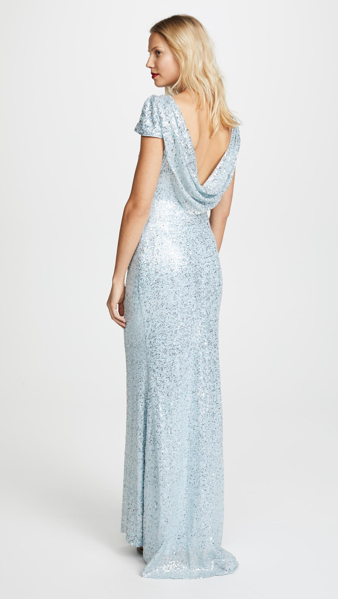 Lyst badgley mischka draped back gown in blue for Badgley mischka store nyc