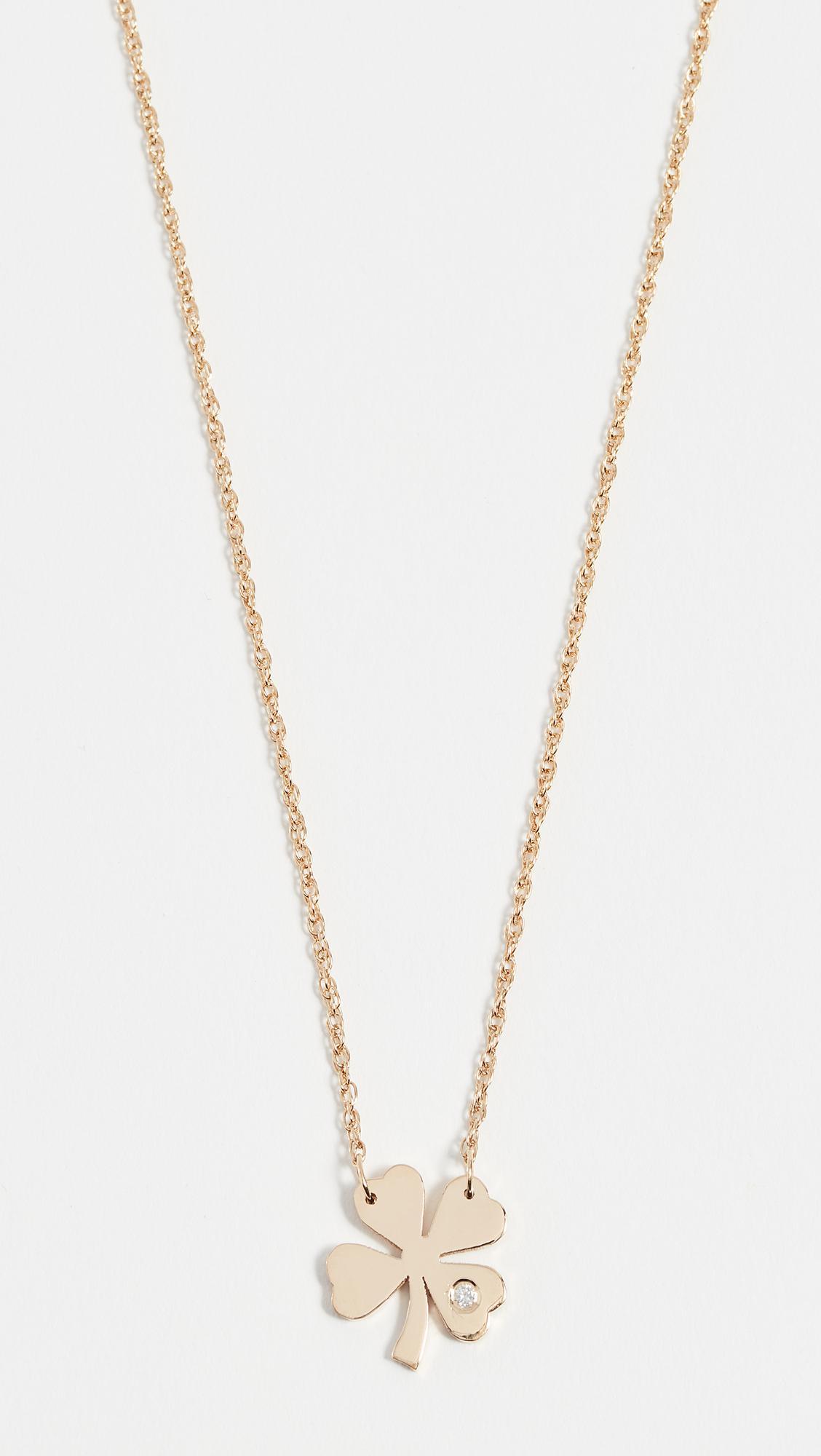 Jennifer Zeuner Clover Necklace with Diamond fvb5ND