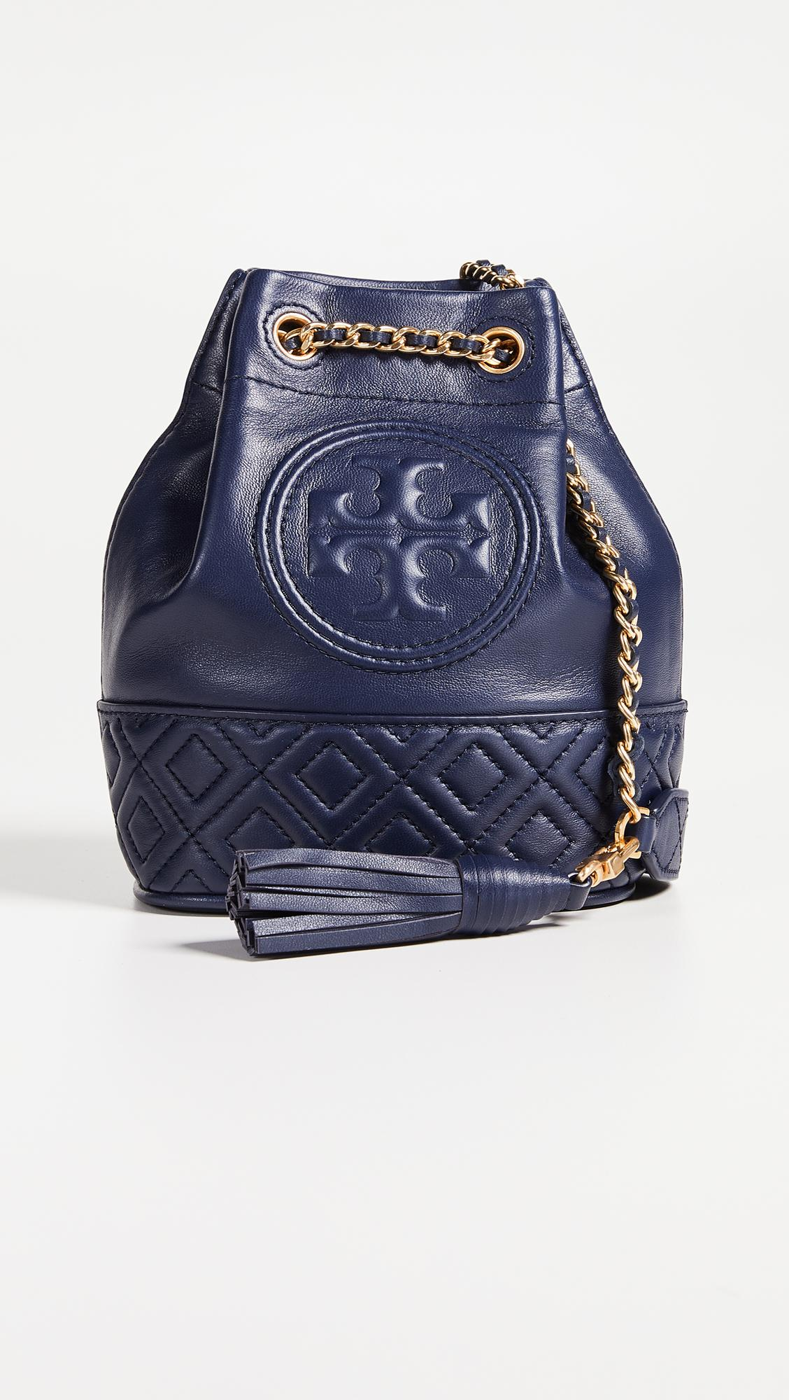 f9431890b500 Lyst - Tory Burch Fleming Mini Navy Leather Bucket Bag in Blue