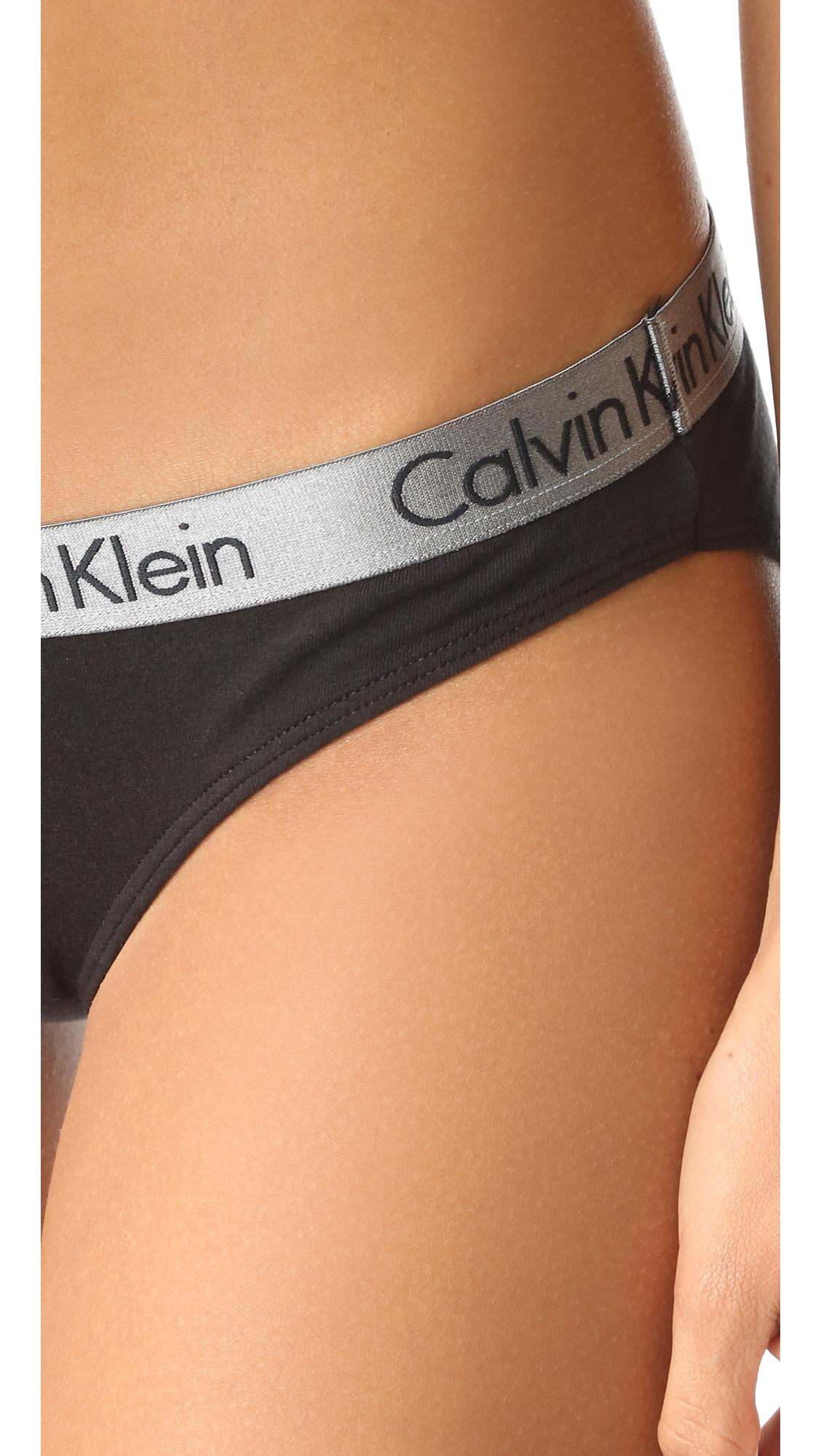 calvin klein radiant cotton bikini in black lyst. Black Bedroom Furniture Sets. Home Design Ideas