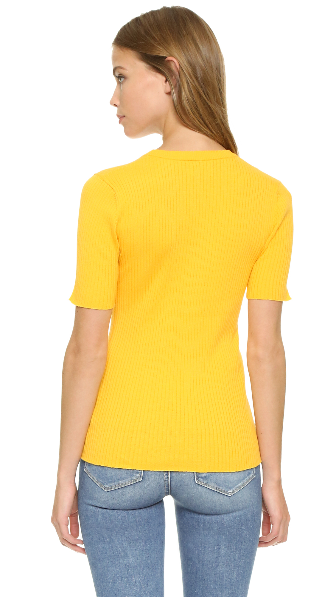 Frame Le Crew Sweater in Yellow | Lyst