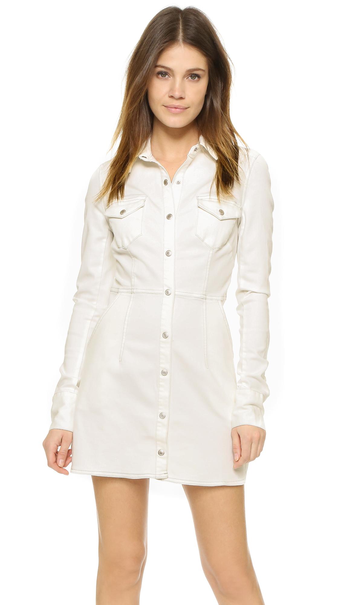 7352c44631d Lyst - Free People Dynamite Denim Shirtdress in White