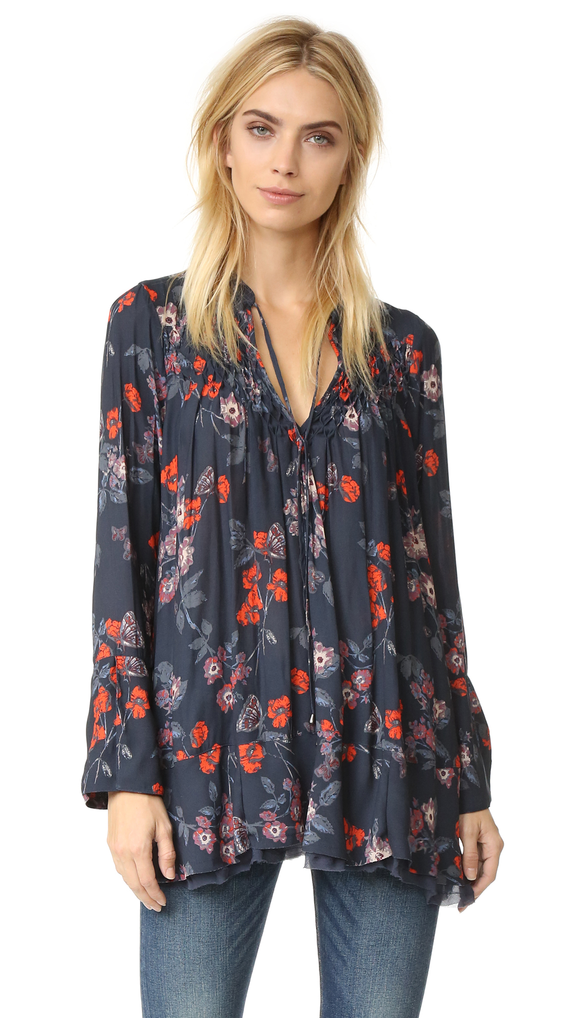 Free People Kiss Kiss Tunic Rasberry Red Embroidery Lace