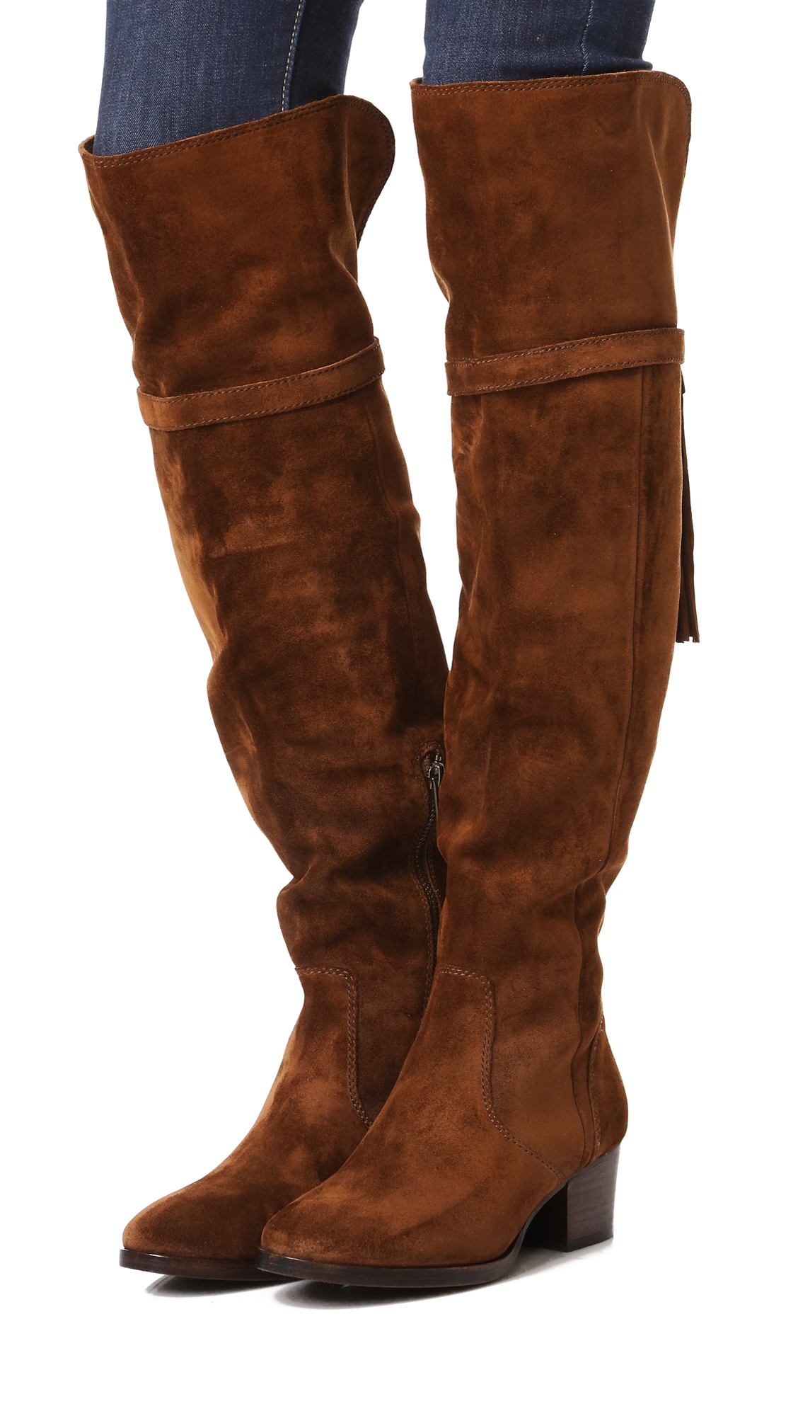 Frye Clara Tassel Over The Knee Boots In Blue Lyst