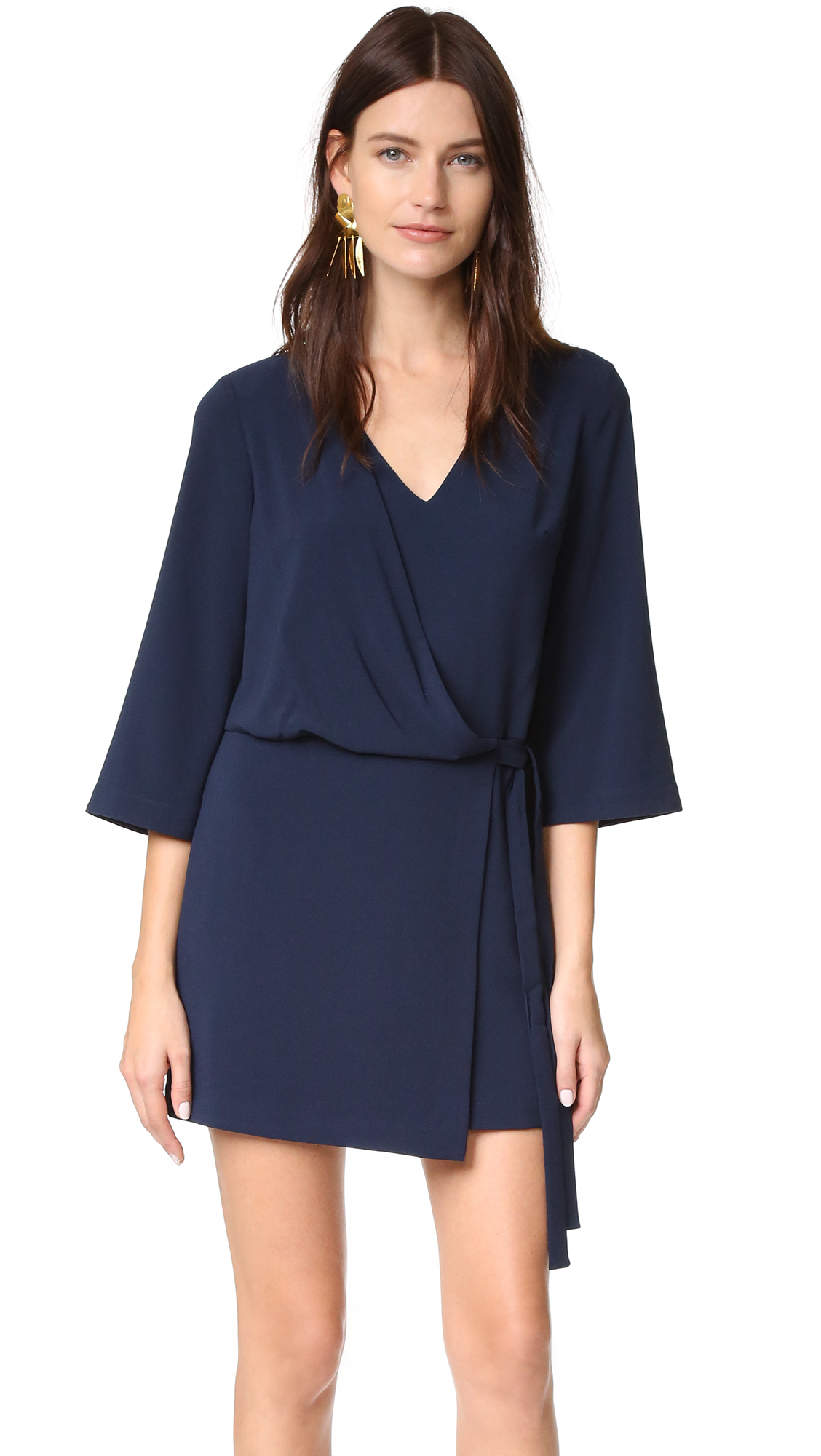 Lyst halston heritage v neck dress with overlay ties for Halston heritage shirt dress