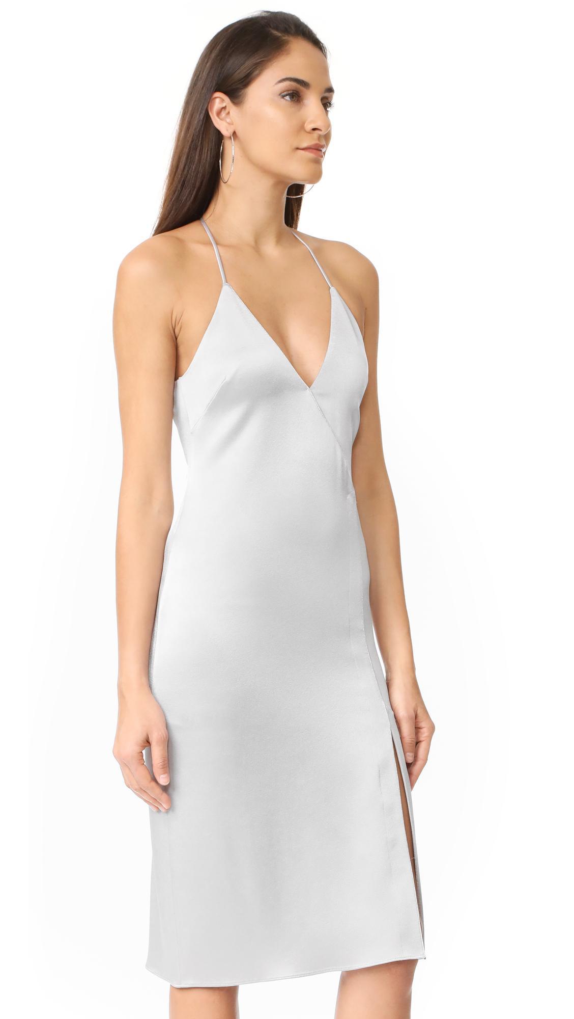 Lyst Halston V Neck Slip Dress With Slit In White