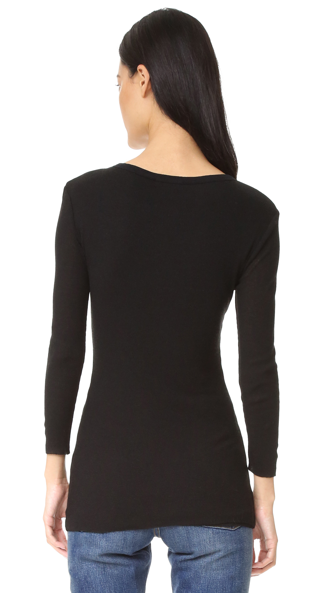 Lyst james perse rib henley top in black for James perse henley shirt