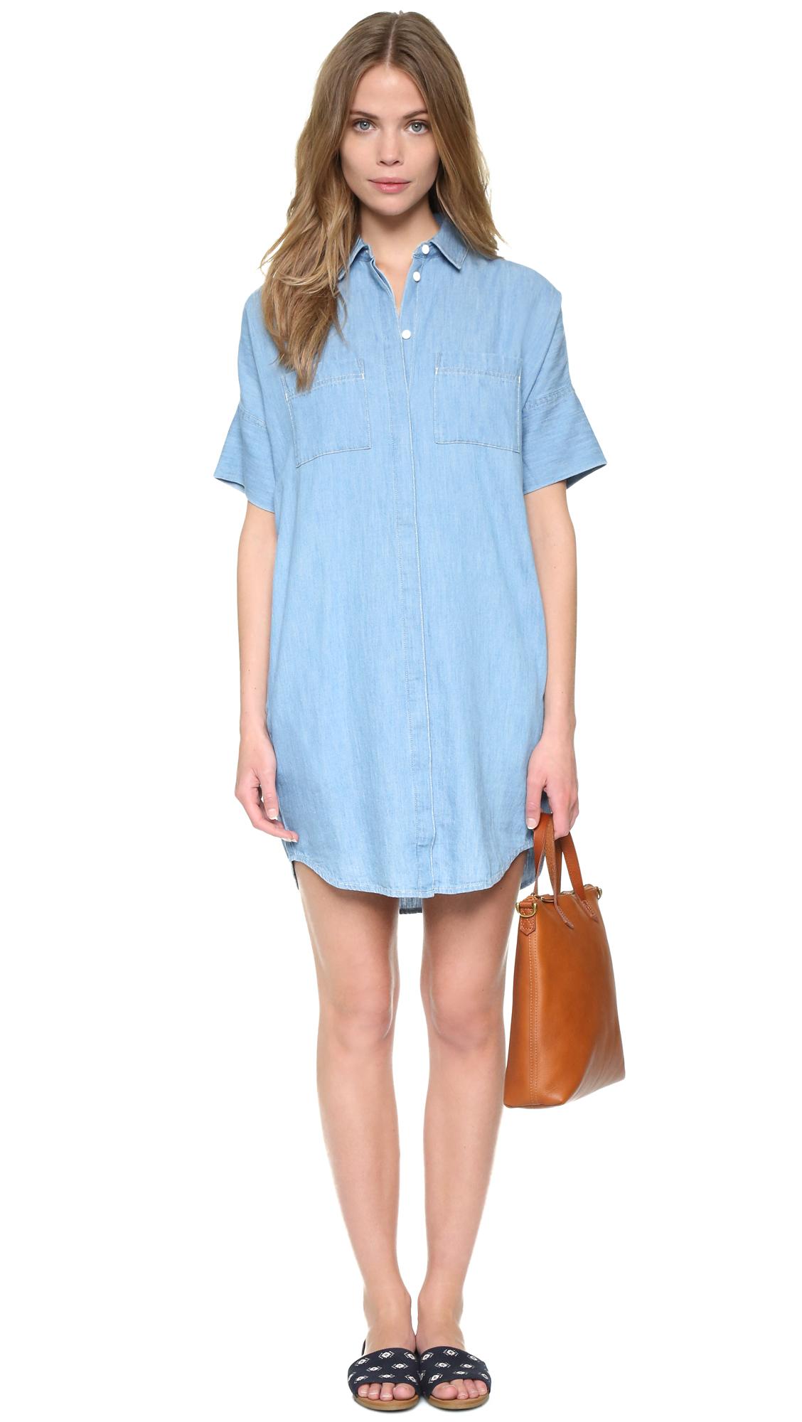 Madewell Courier Denim Dress in Blue