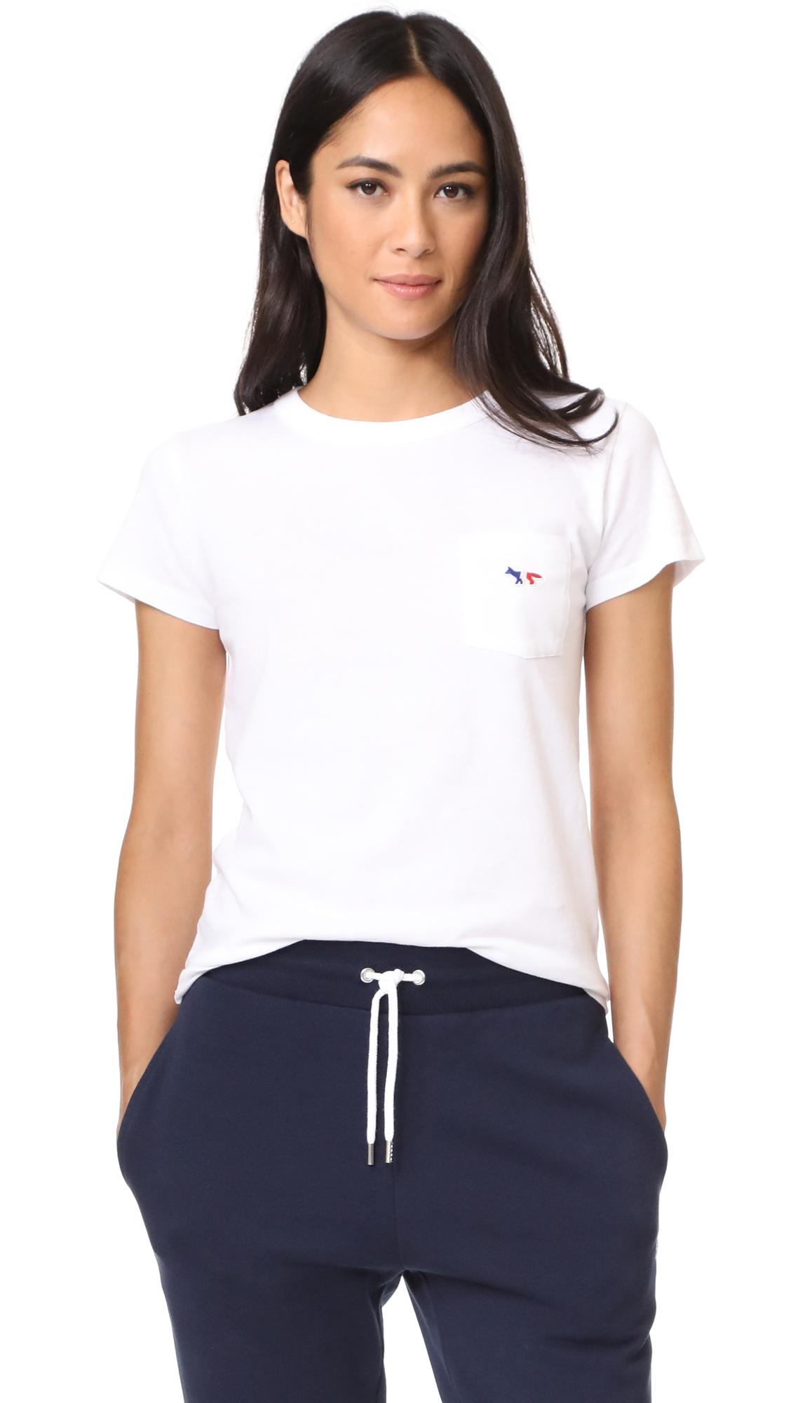 lyst maison kitsun tricolor fox patch tee shirt in white. Black Bedroom Furniture Sets. Home Design Ideas