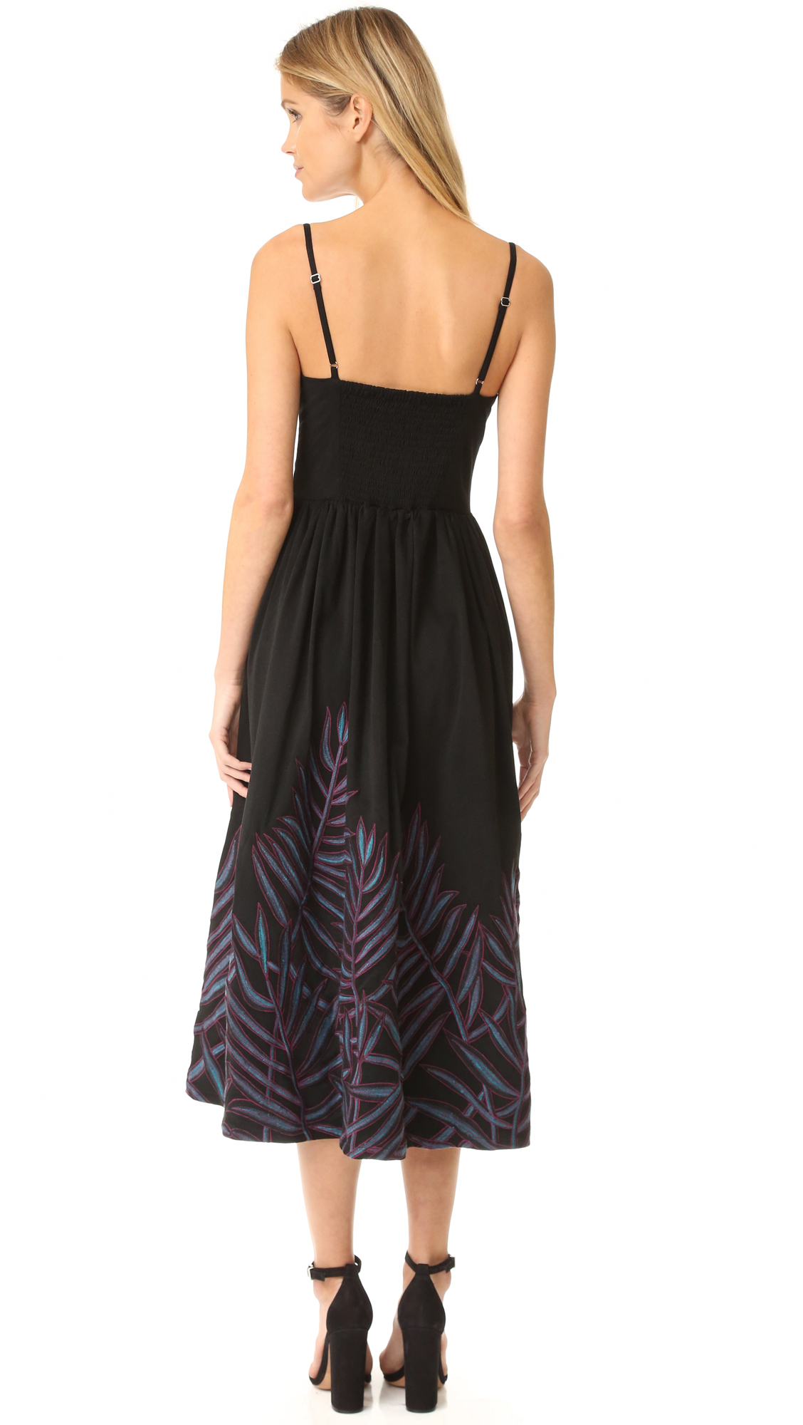 Lyst mara hoffman leaf embroidery bustier dress in black