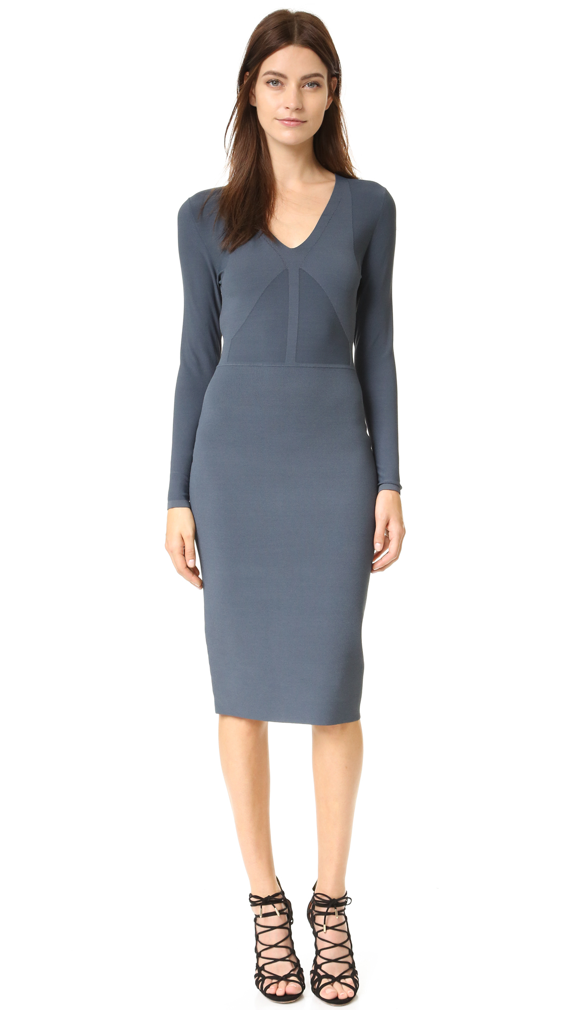Lyst Narciso Rodriguez Long Sleeve Knit Dress In Blue