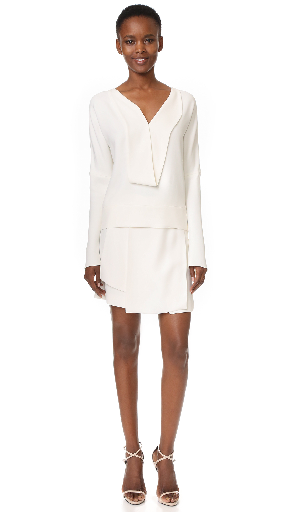 Narciso rodriguez long sleeve top in white lyst for Adam lippes women s long sleeve vee t shirt
