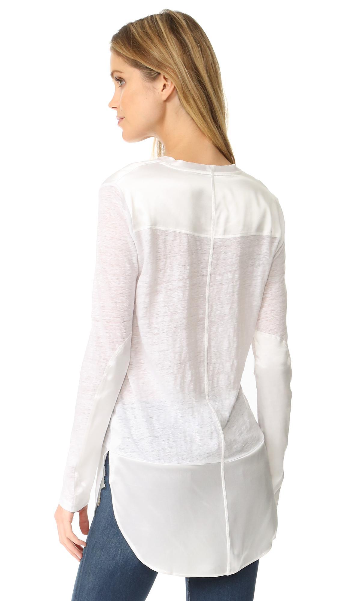 Women's White Riley Long Sleeve Tee
