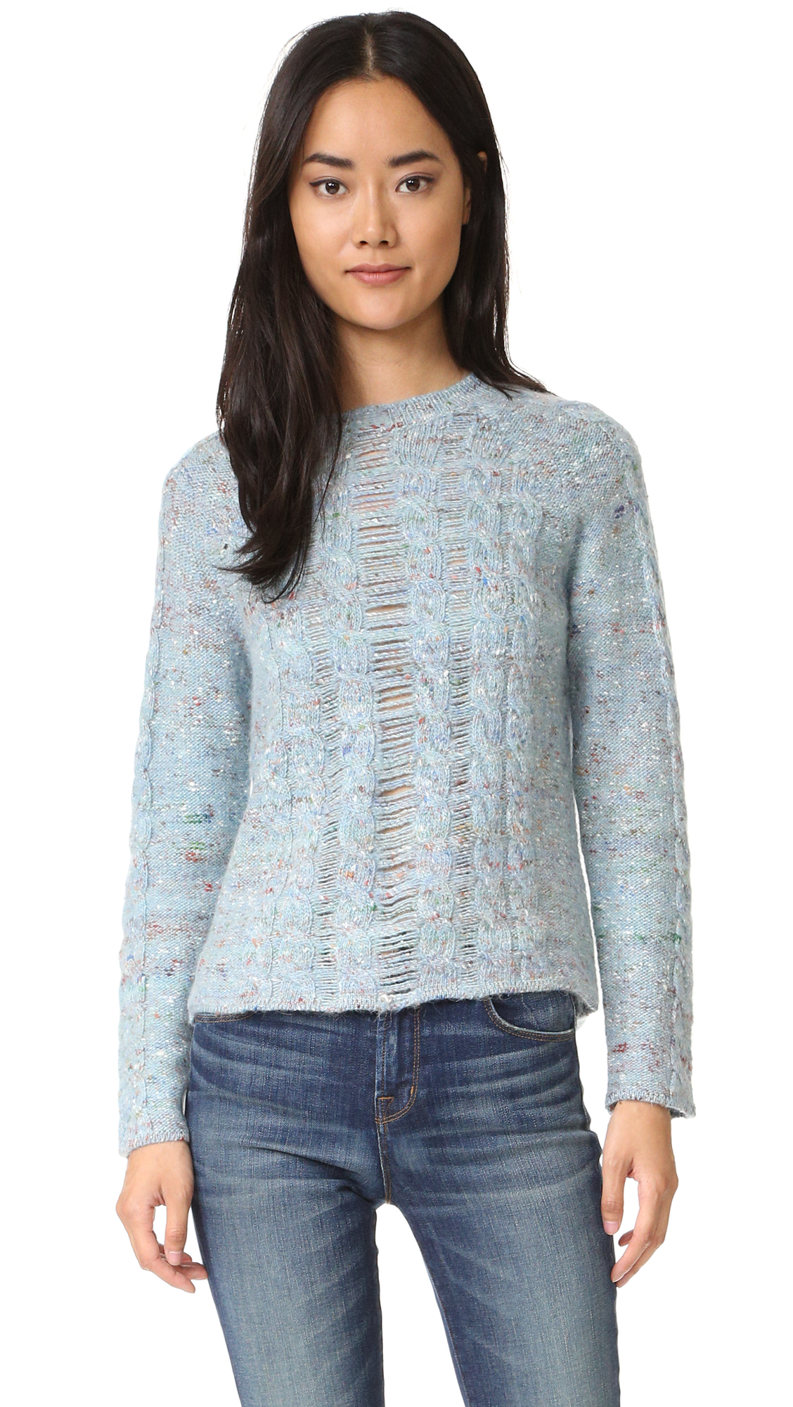 Raquel allegra Cable Knit Pullover in Blue Lyst