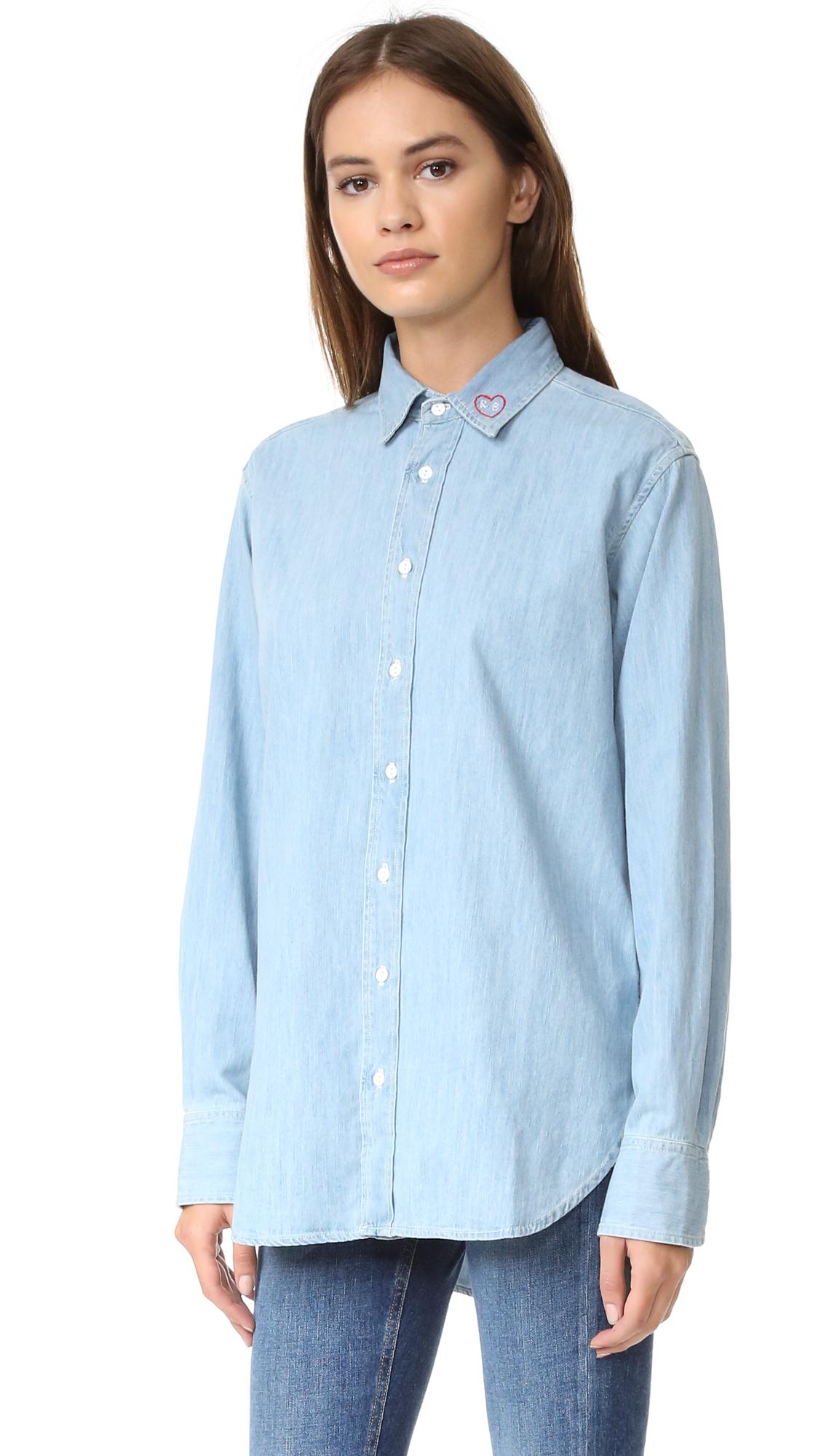 Lyst rag bone boyfriend shirt in blue for Rag bone shirt