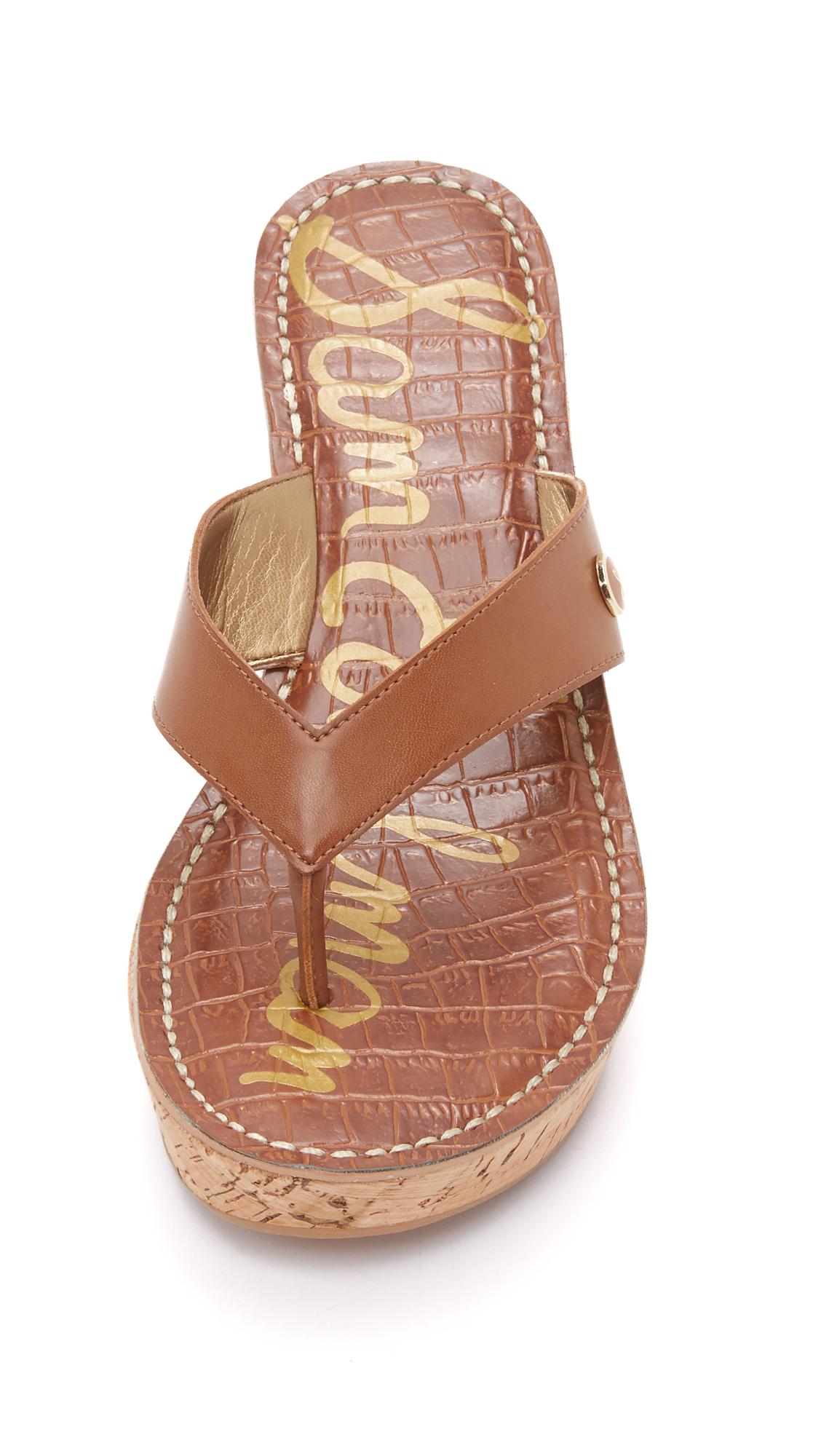 Sam Edelman Romy Wedge Thong Sandals In Brown Lyst