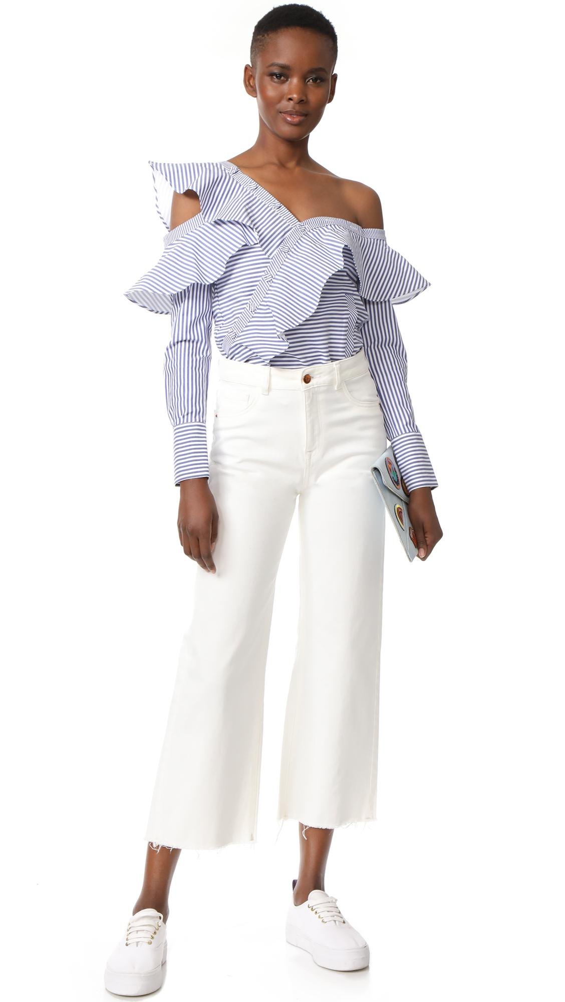 Lyst Self Portrait Striped Frill Shirt In Blue
