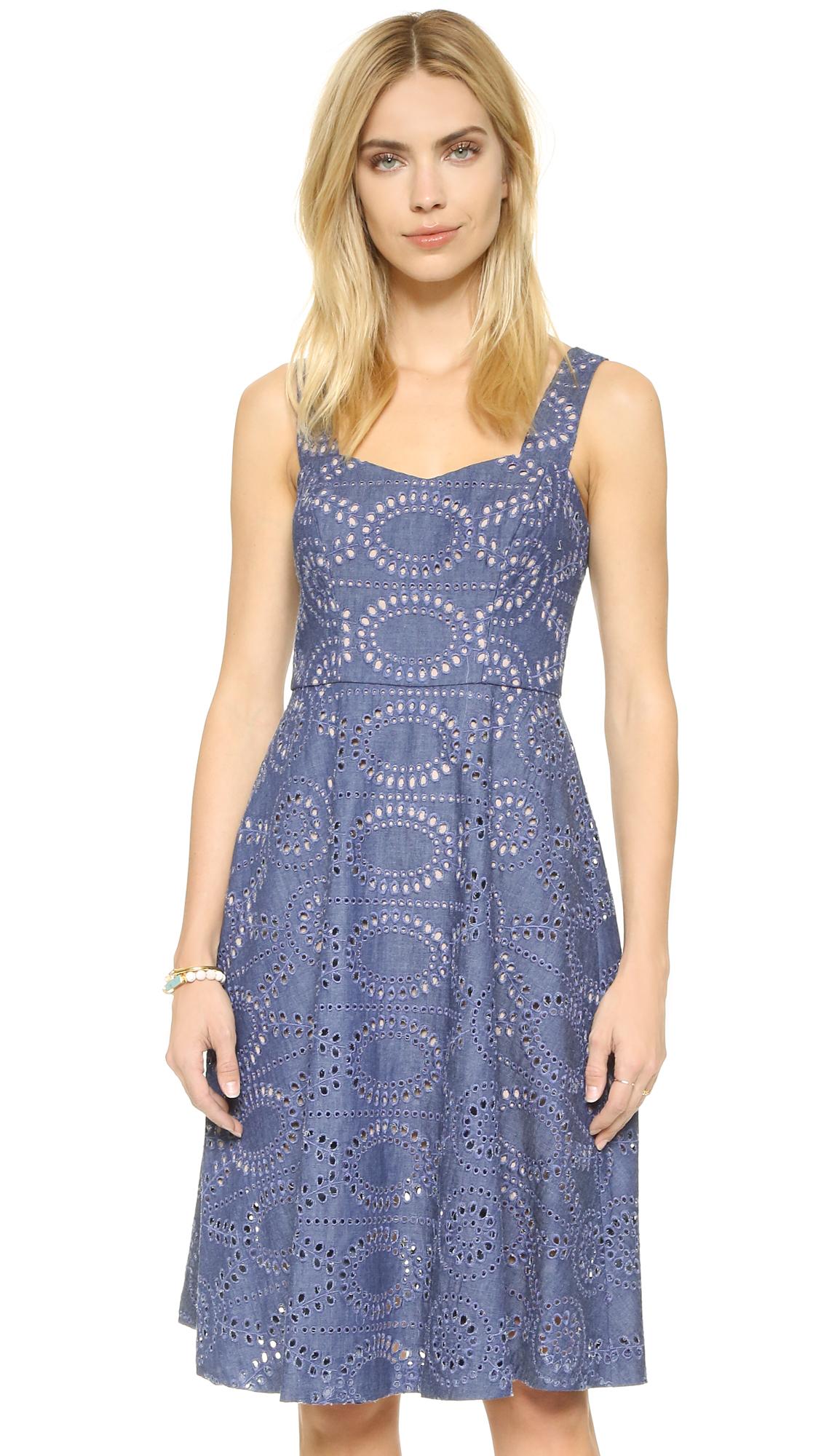 Lyst Shoshanna Reese Eyelet Dress In Blue