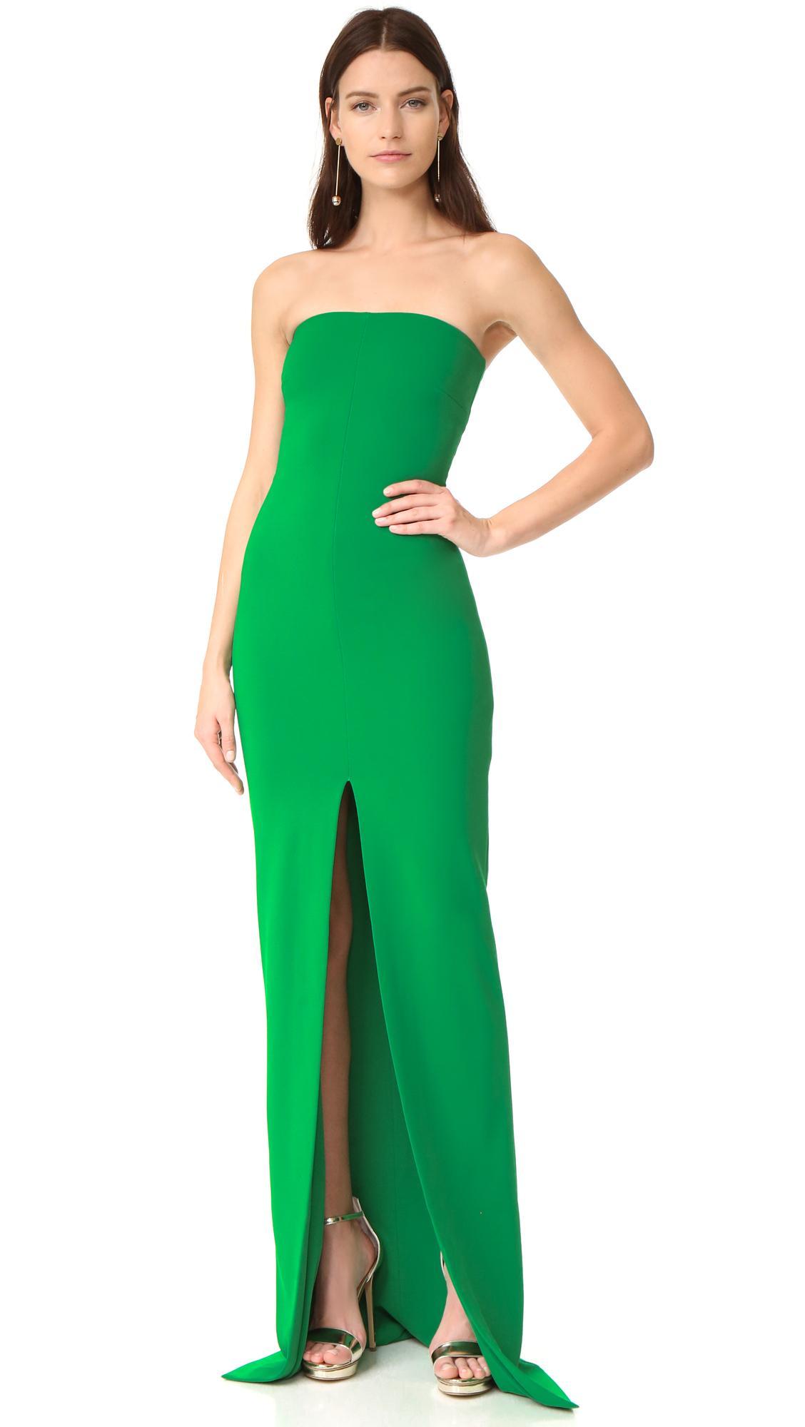 lyst solace london aubrey maxi dress in green