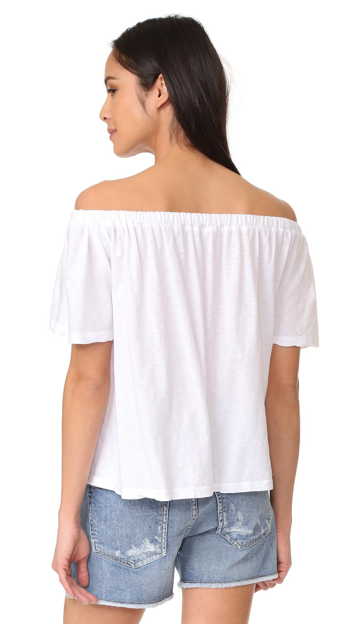 Sundry Off The Shoulder Top in White | Lyst